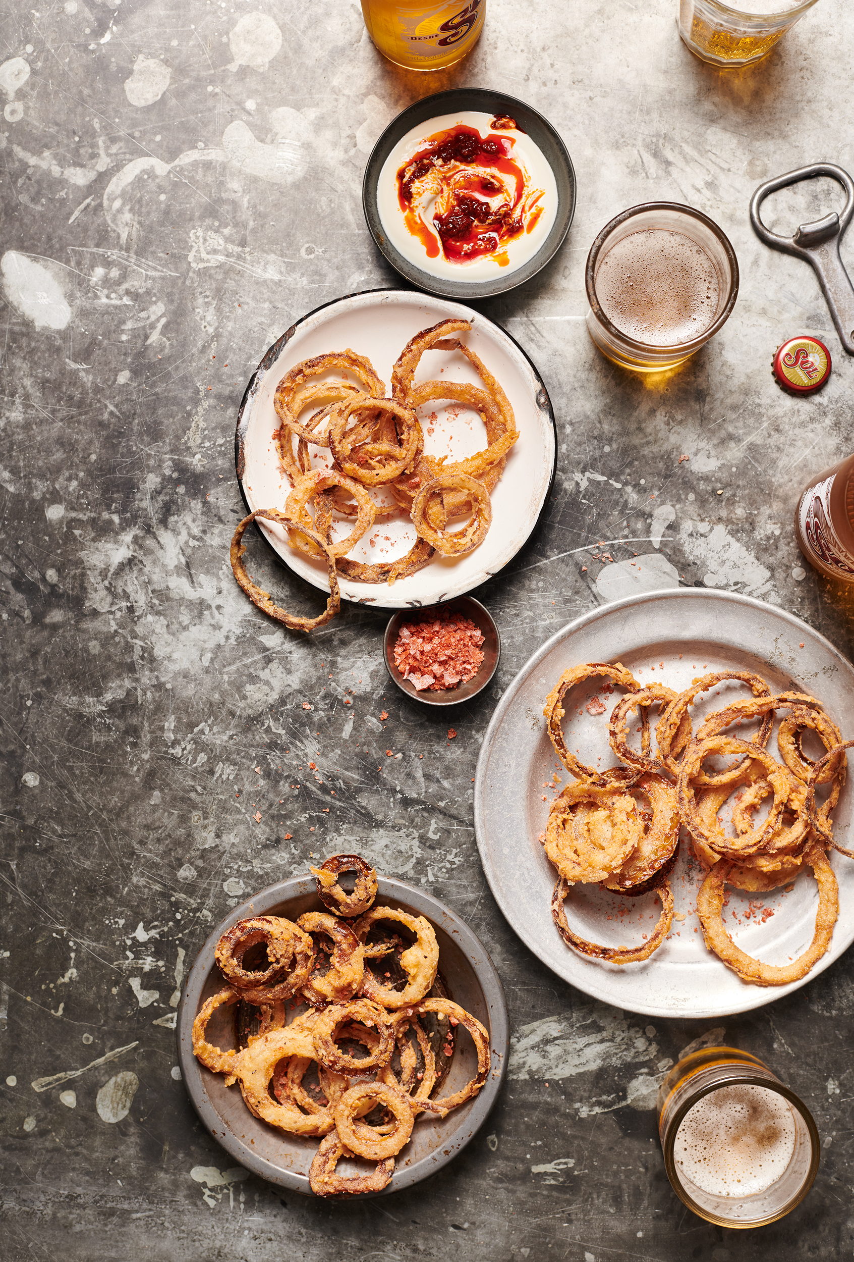 onion rings and beer food photography