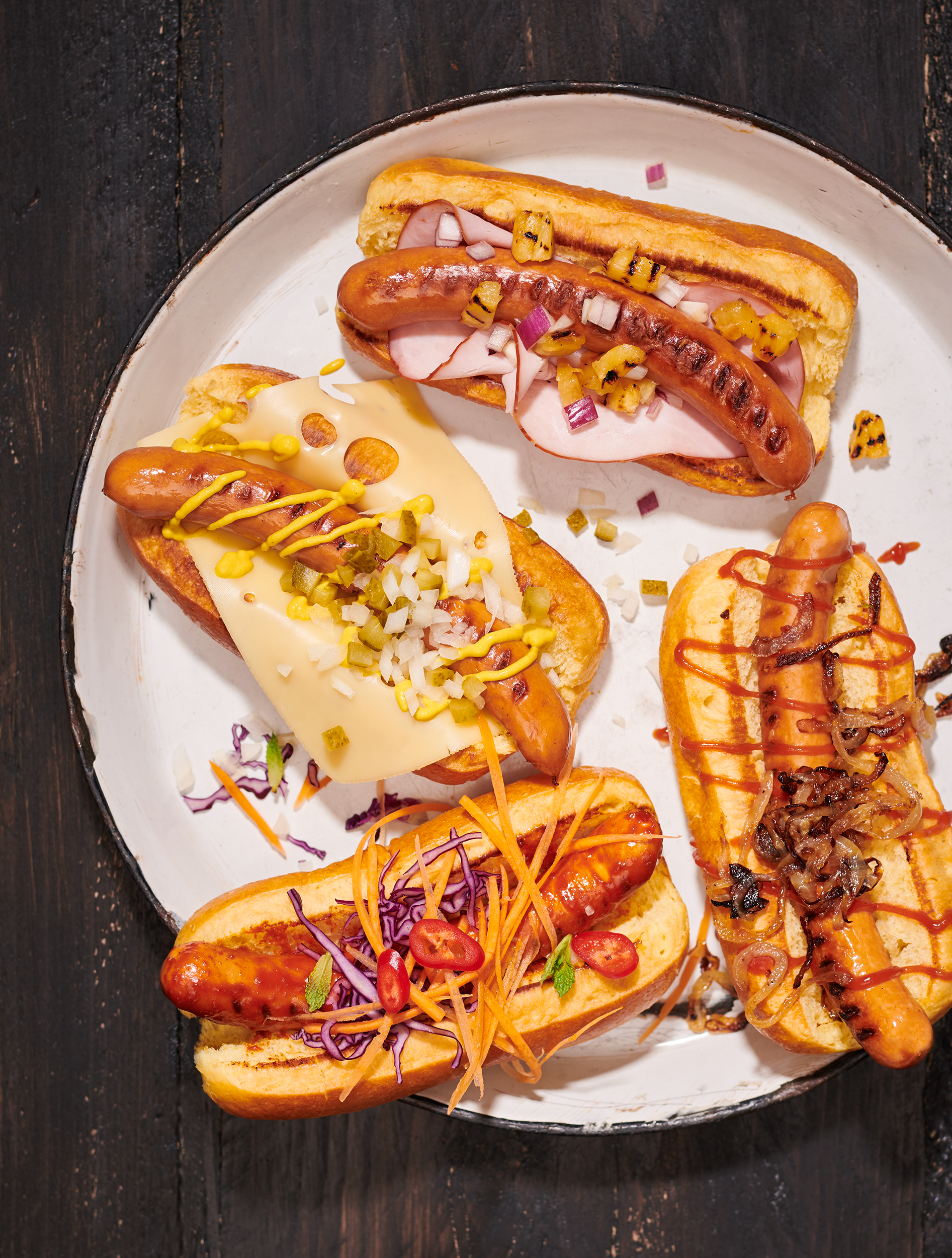BBQ hot dogs by London food photography Holly Pickering