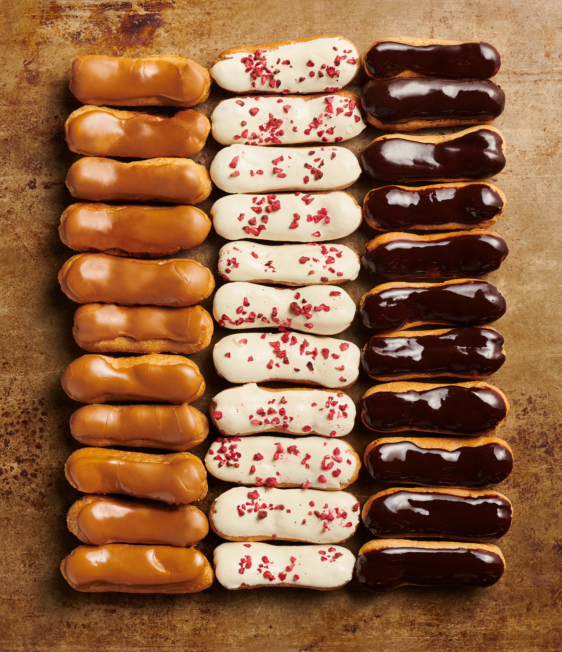 advertising photography of eclairs and patisserie