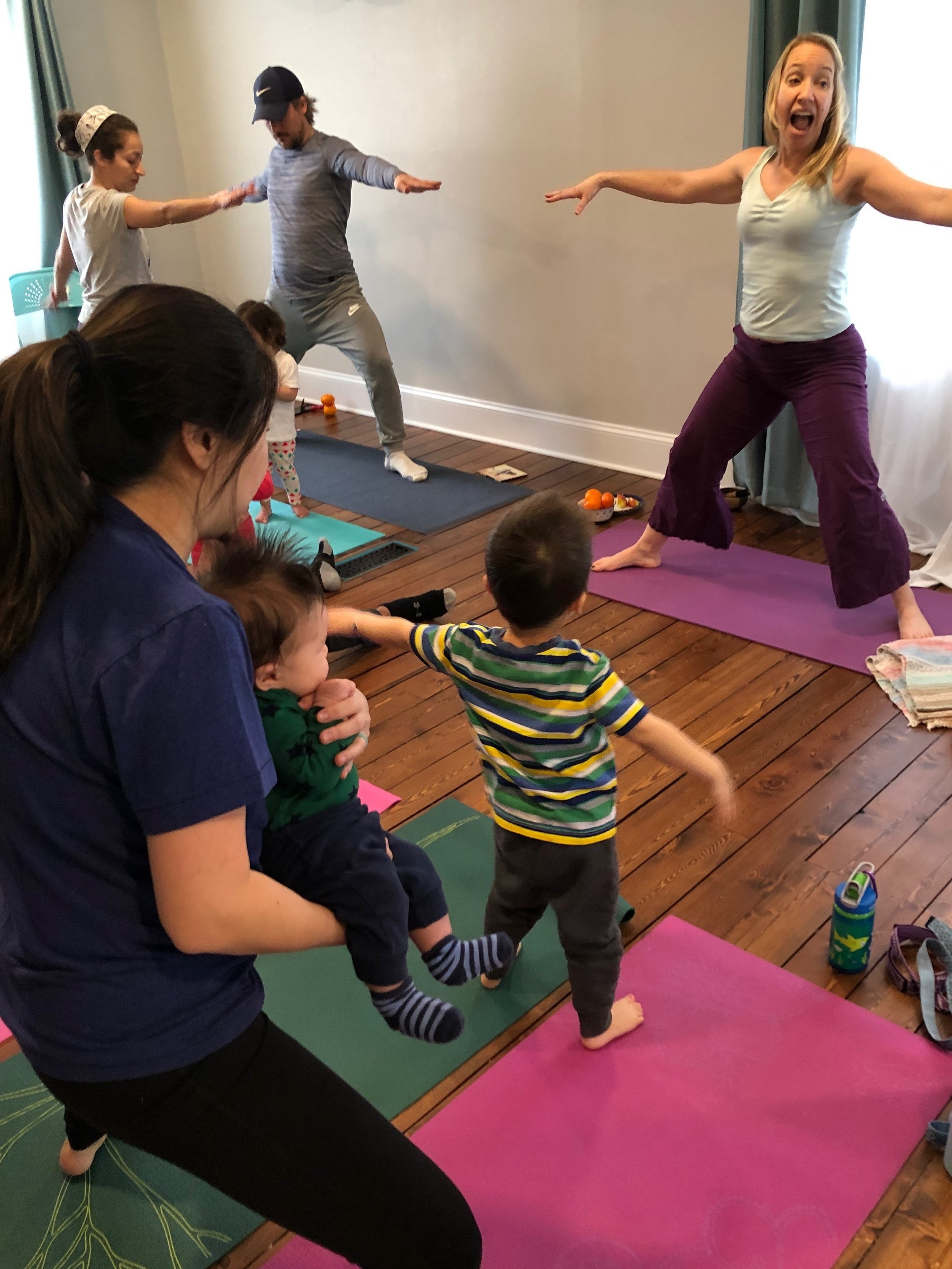 It's a wild time in Family Yoga!!