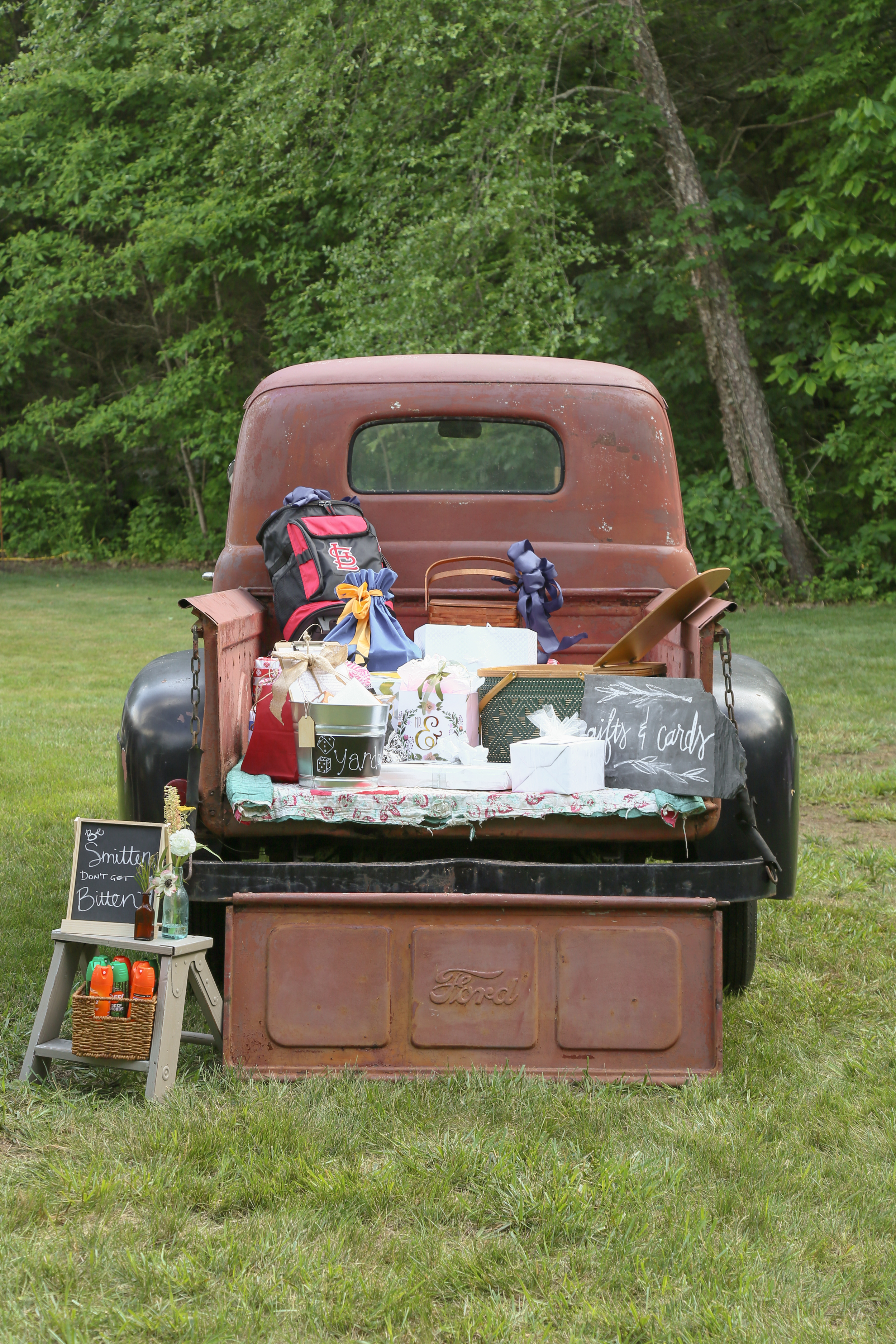 vintage truck of wedding gifts