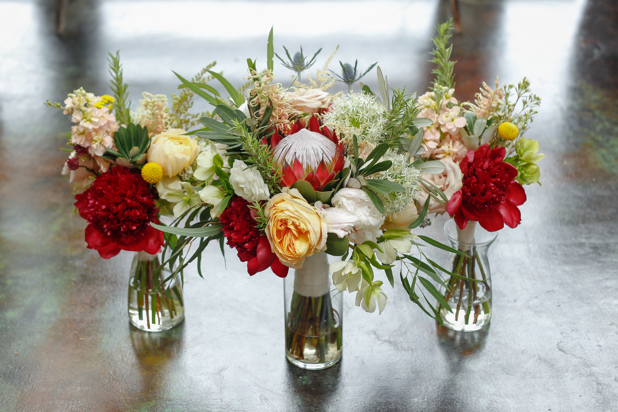 style altard st louis wedding bouquet featuring queen protea