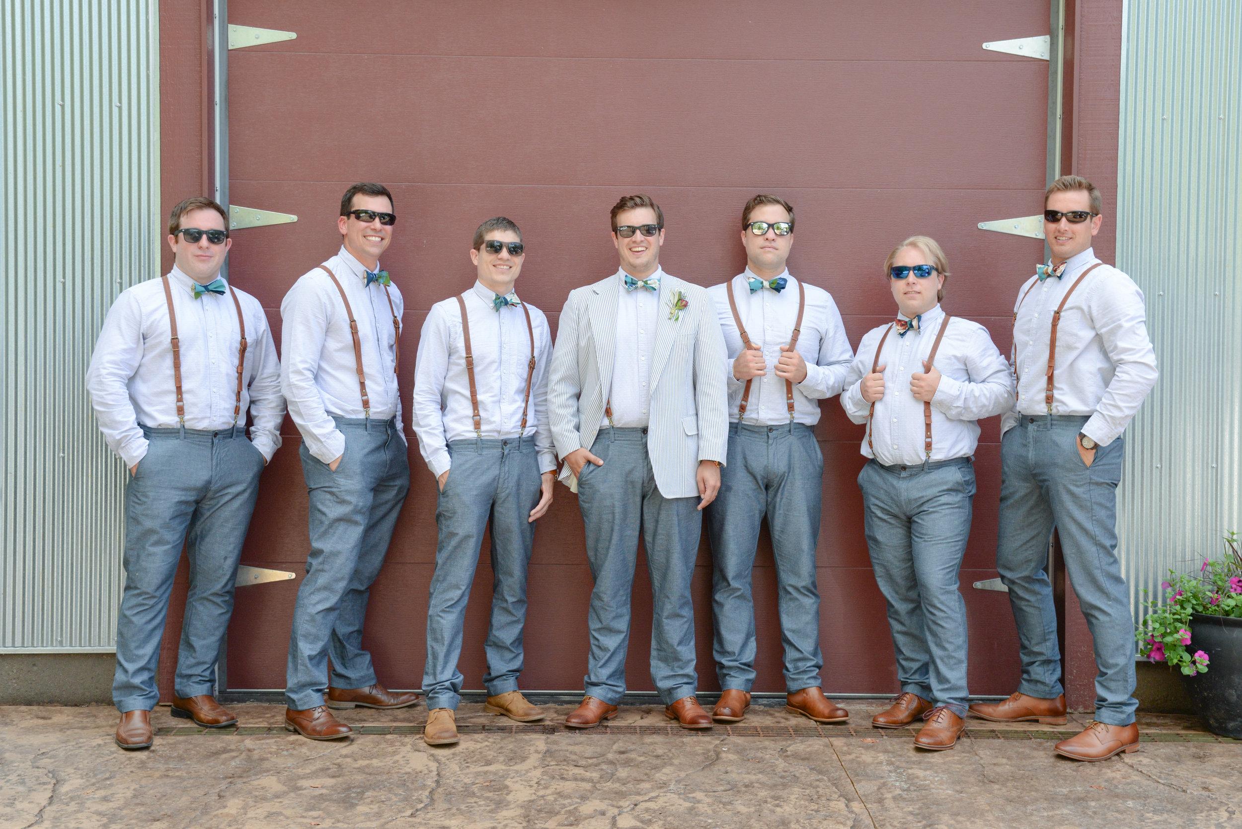 style altard st louis wedding groomsmen shot