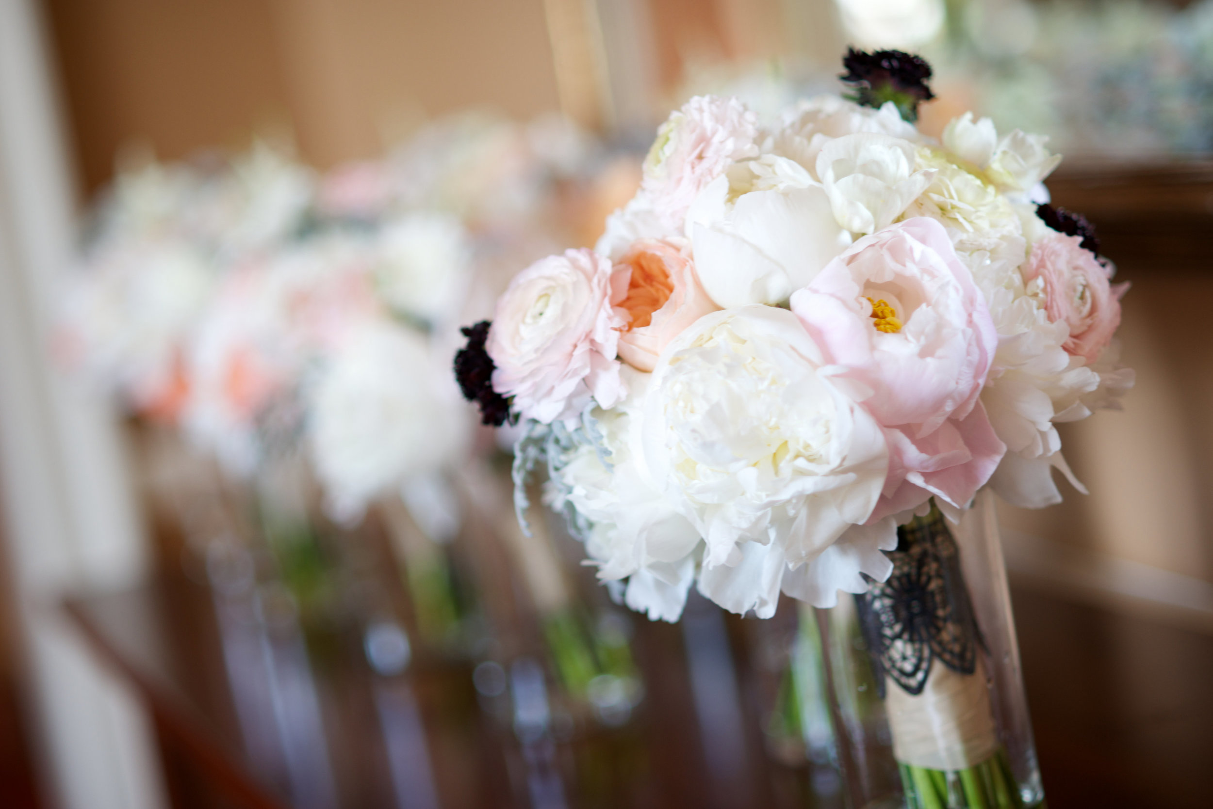 Lace and Lilies, Bridal blush peony bouquet