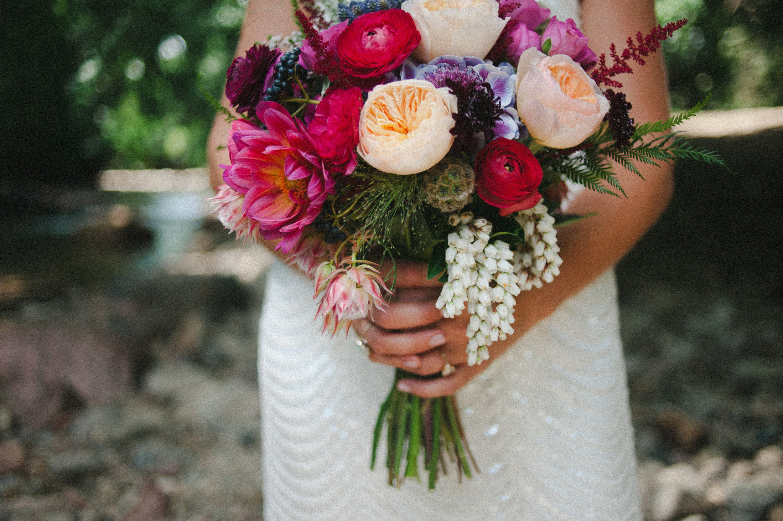 Lace and Lilies, Bridal Jewel tone bouquet