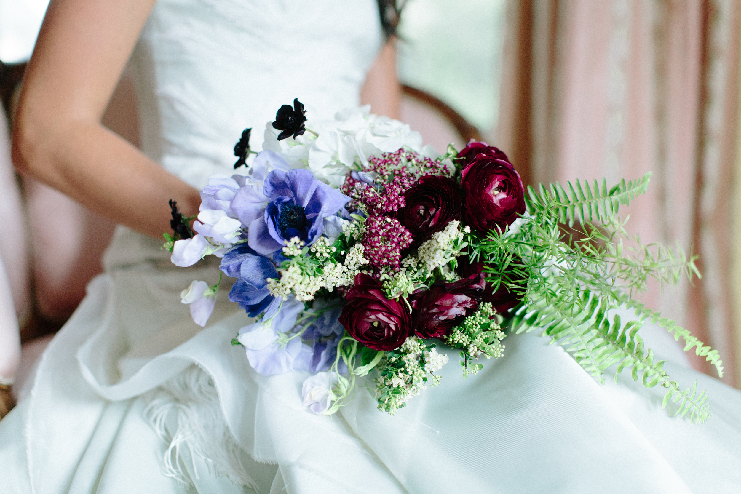 Lace and Lilies, purple and blue bouquet