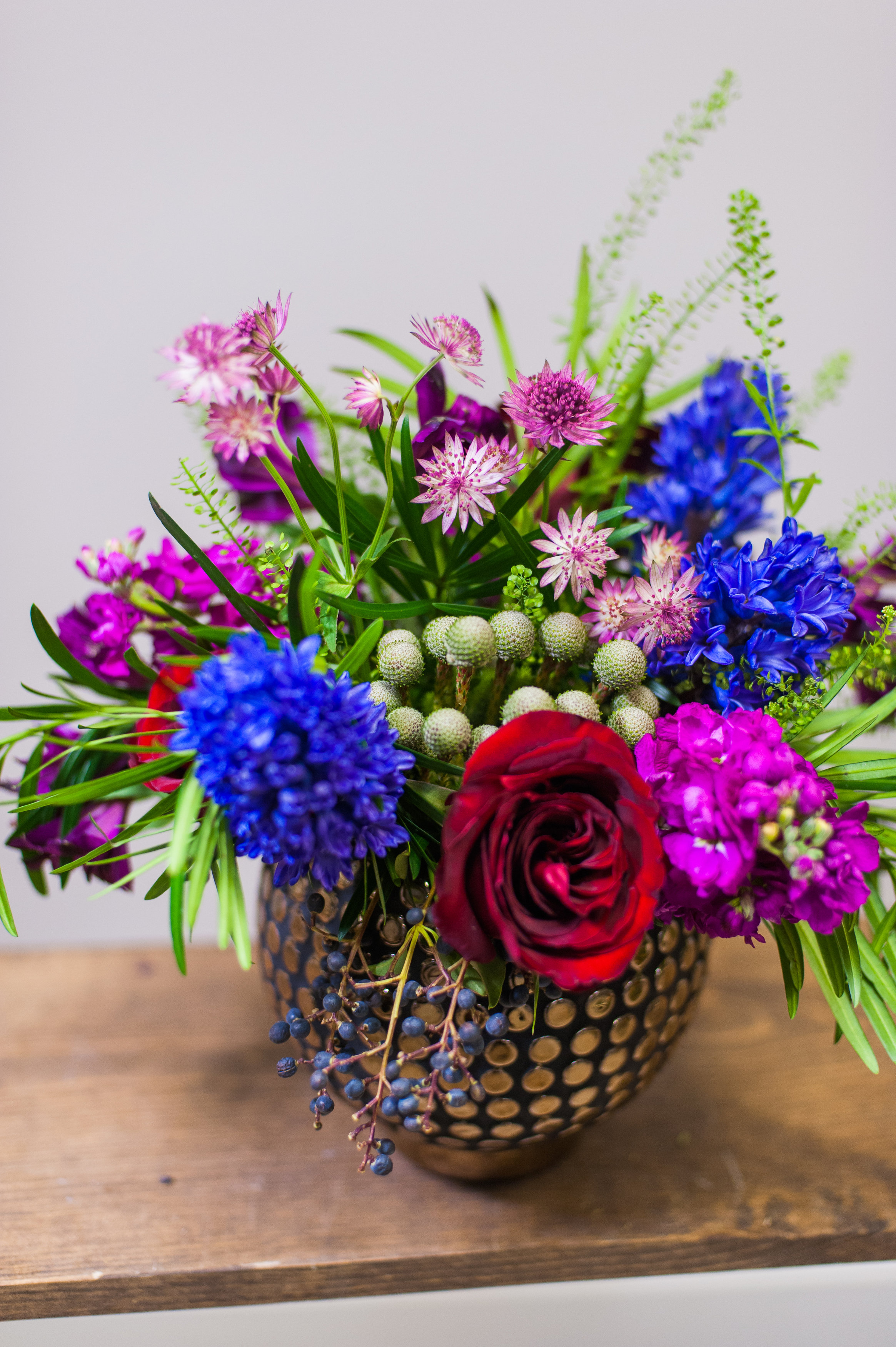 Here is a closer look at Option 1 - a hip copper vase, with a jewel tone color palette!