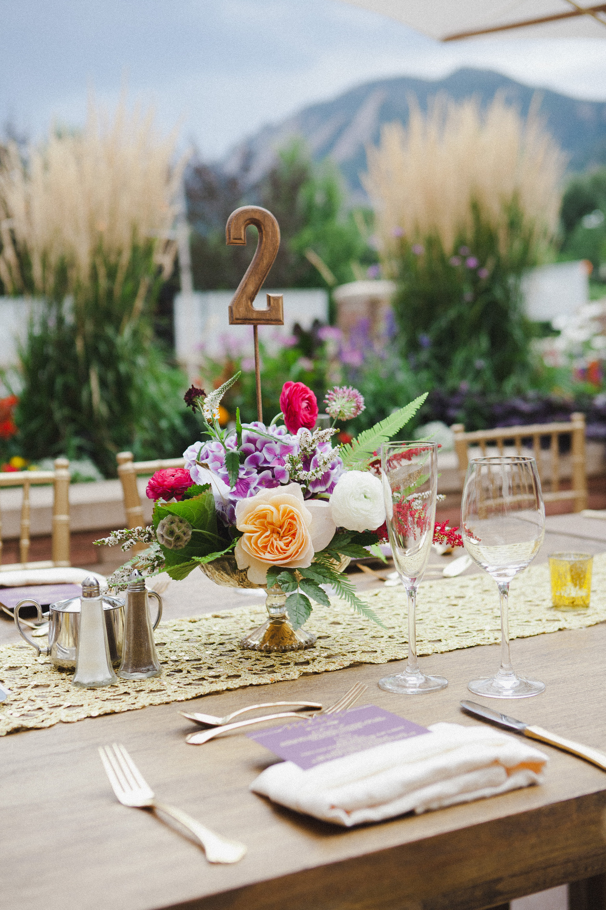 Lace and Lilies, boulder wedding centerpieces, gold and jewel tone