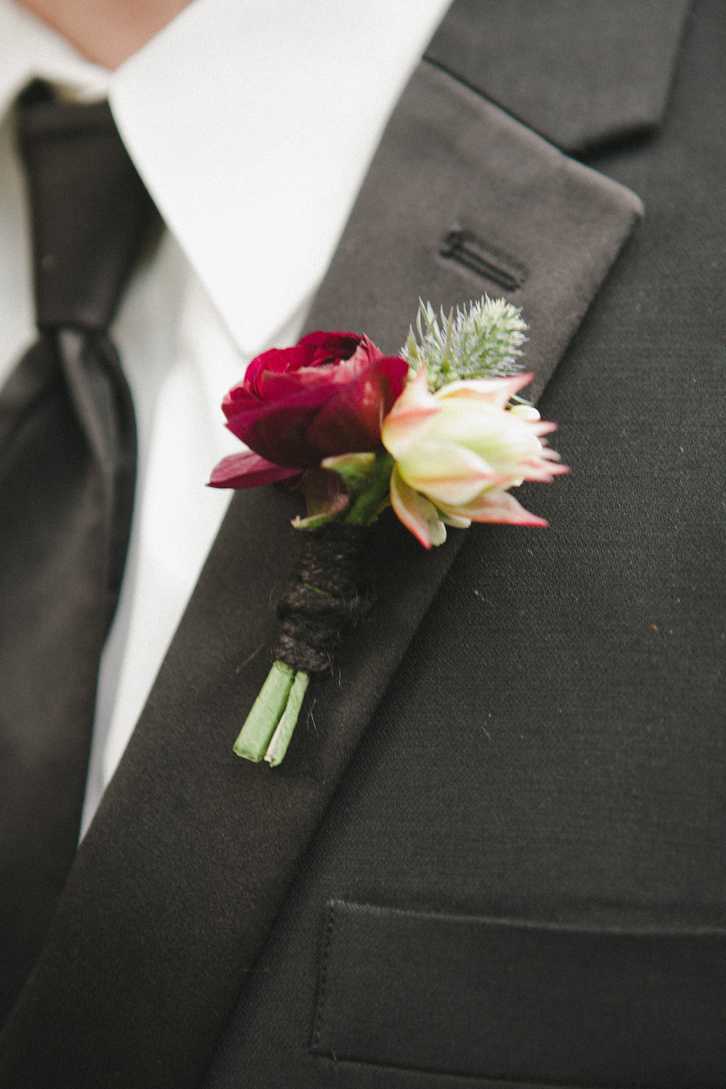 Lace and Lilies, Boutonniere, Black Tie Wedding