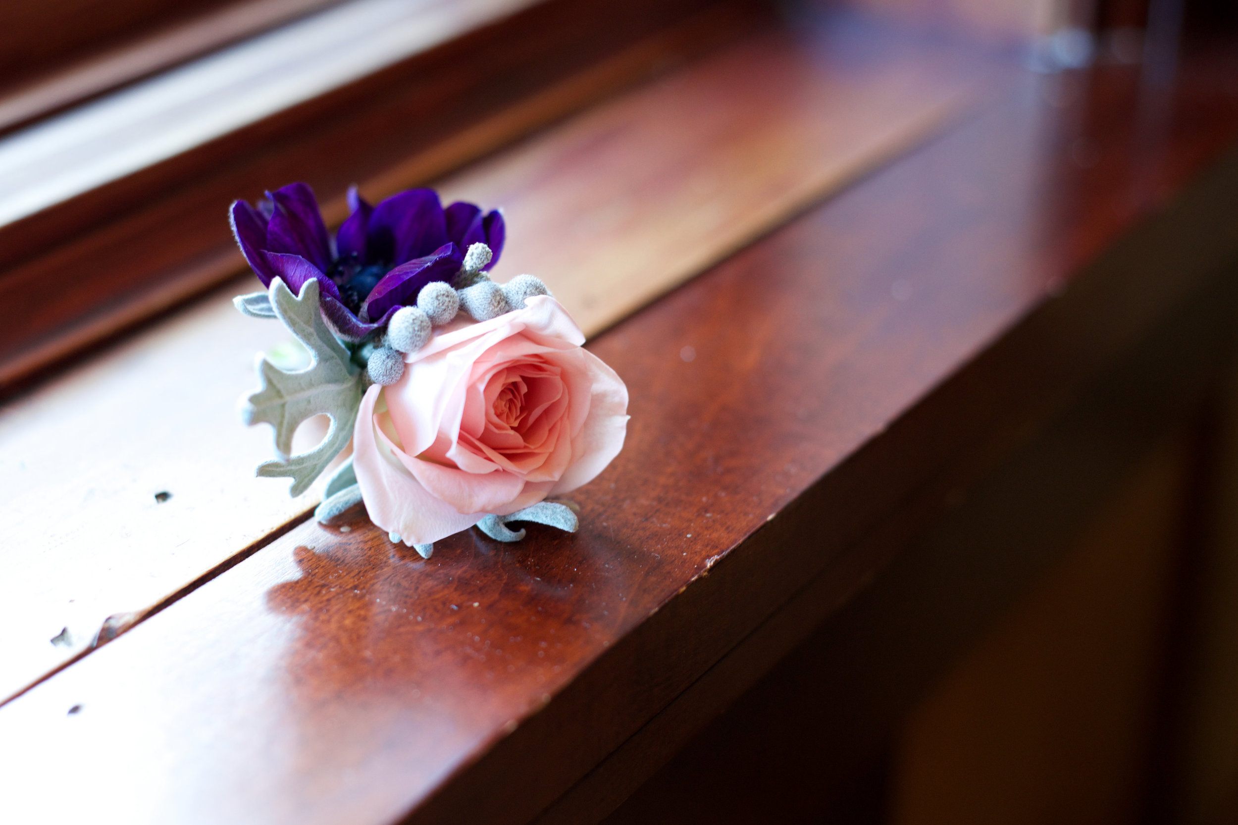 Lace and Lilies, Purple and Pink Bold Boutonniere