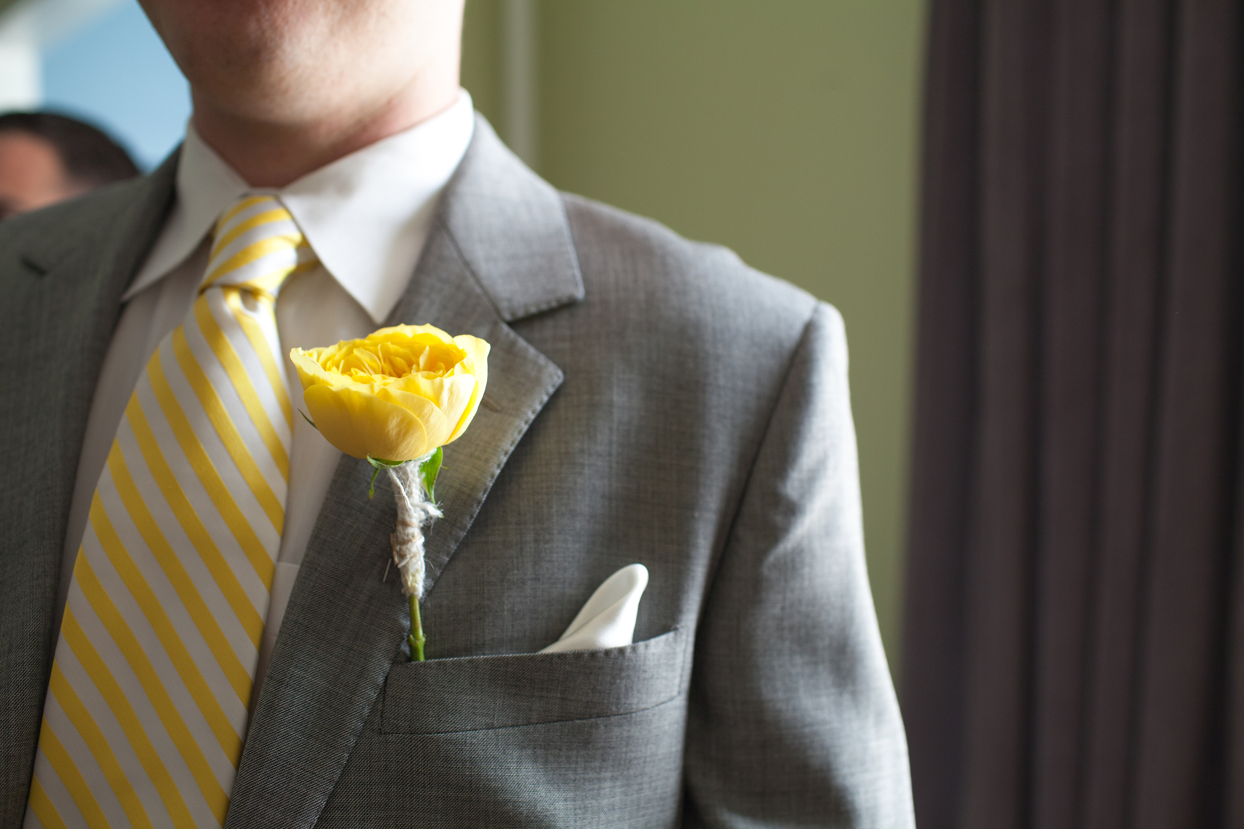 Lace and Lilies, Yellow Garden Rose Boutonniere