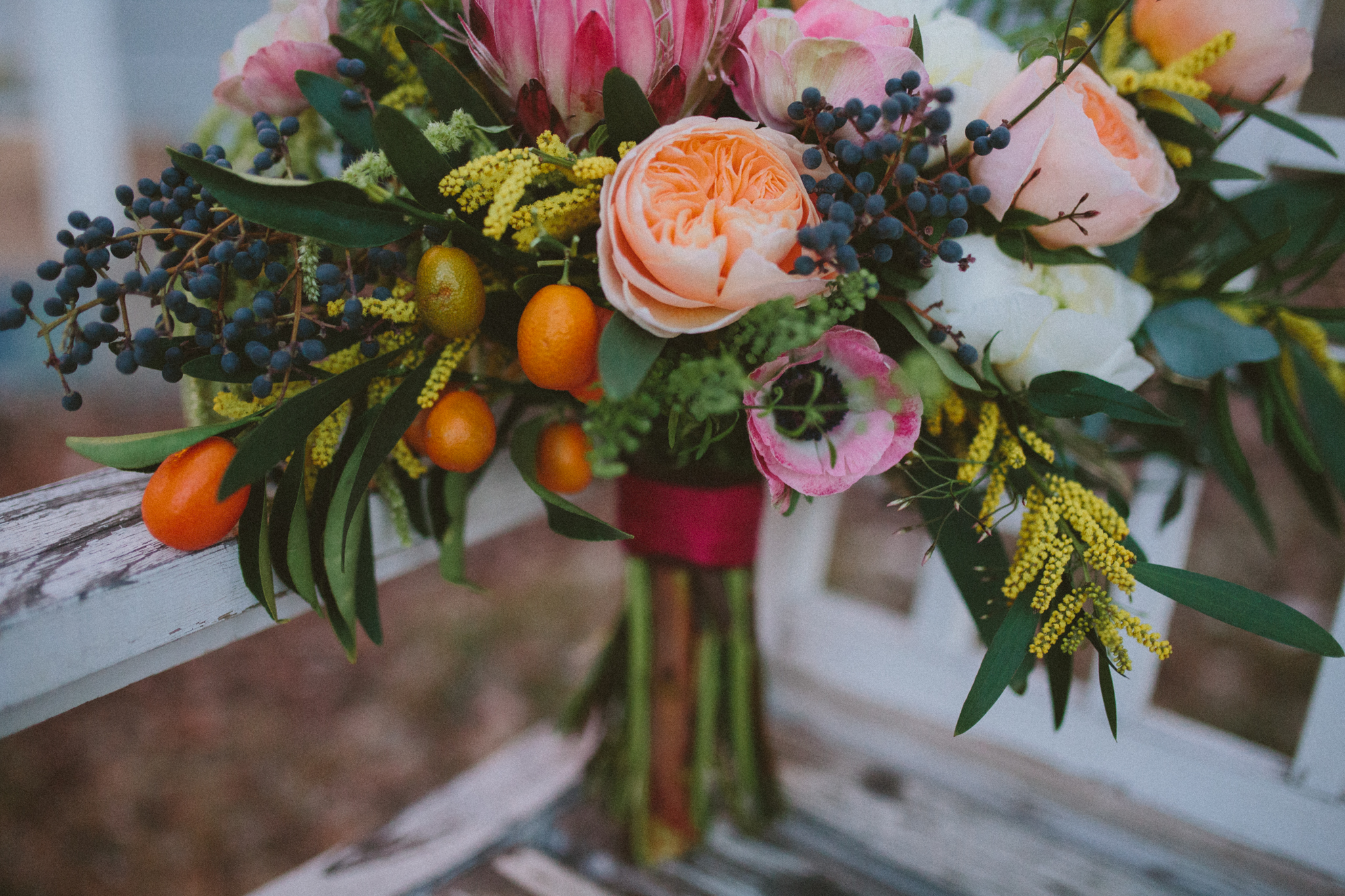 Sometimes we use a Juliet to soften the look of a very textured bouquet...dying over this one!