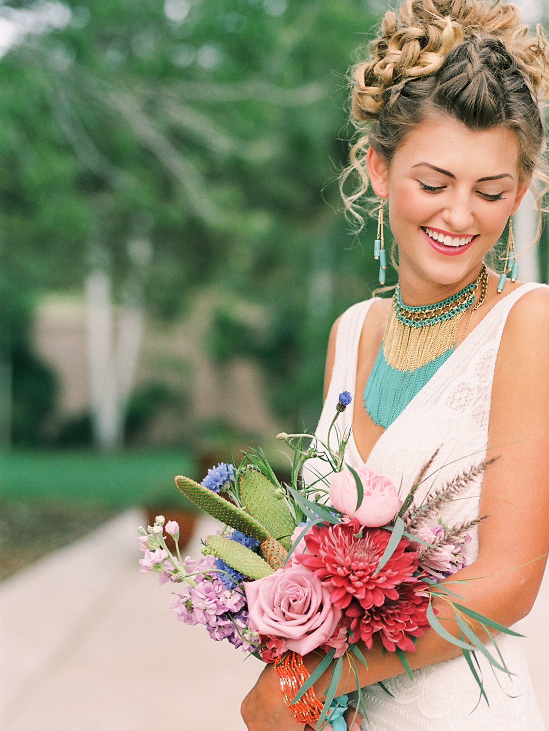 Southwest wedding inspiration - flowers by Lace and Lilies - colorful cacti bouquet