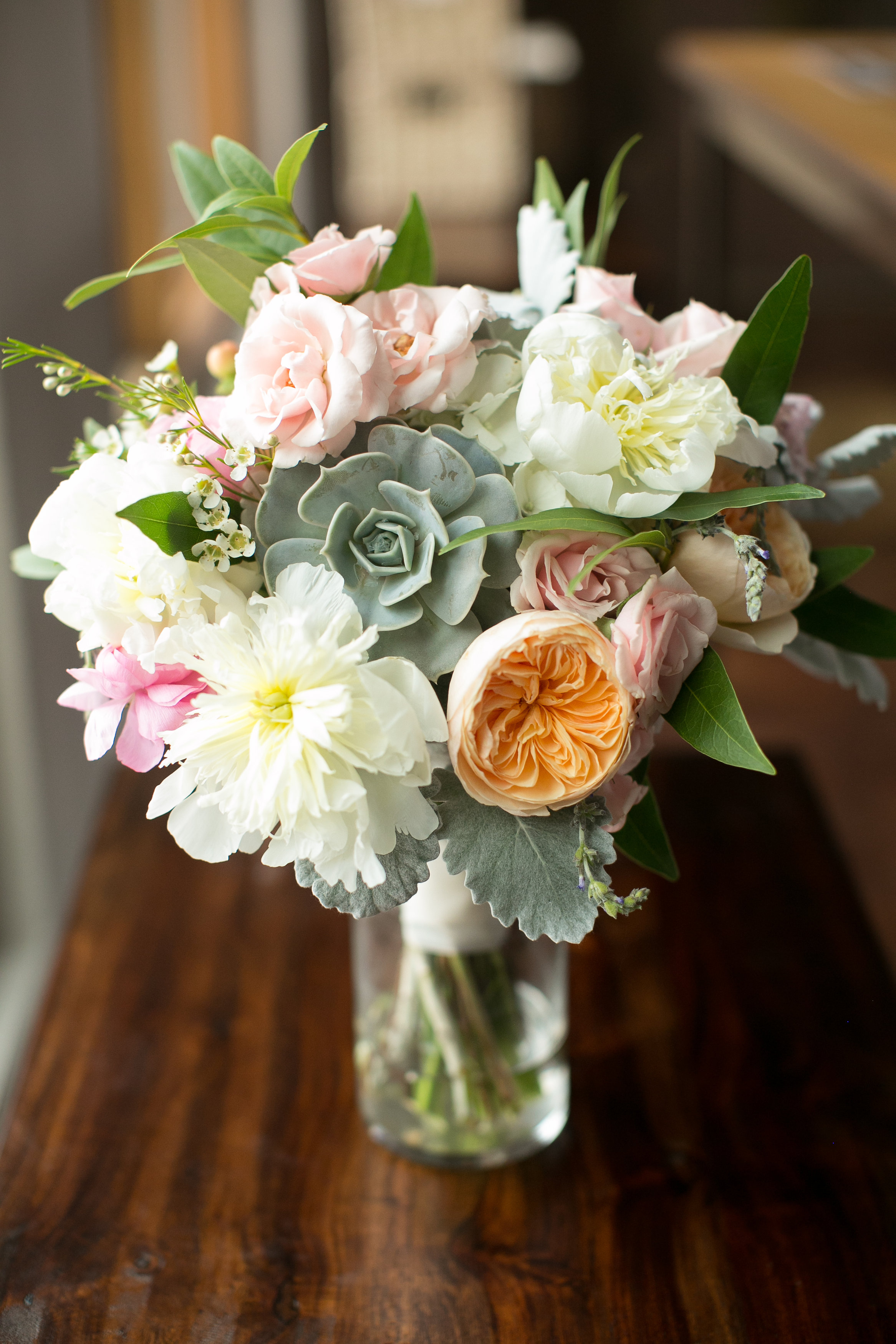 Flowers by Lace and Lilies - Succulent Bouquet - Colorado Wedding - Juliet Garden Rose - Woodland Wedding