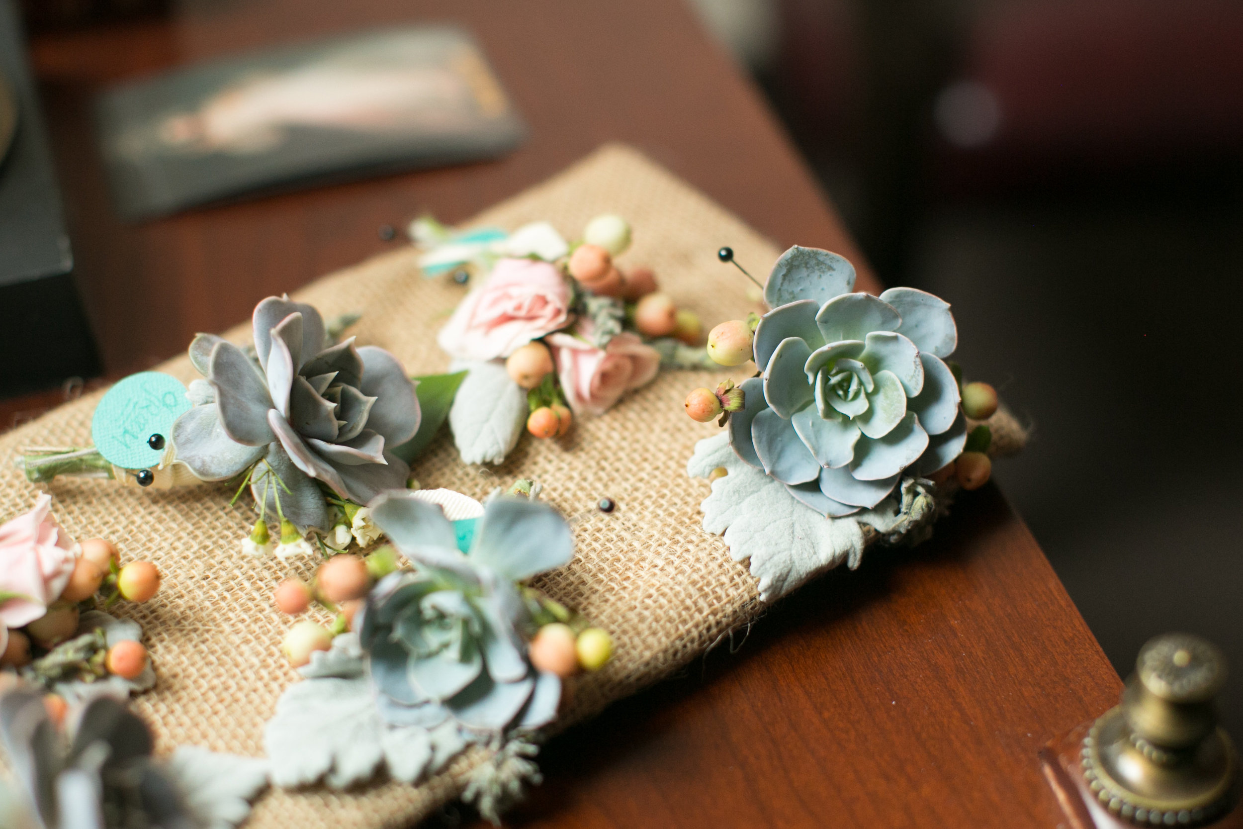 Flowers by Lace and Lilies - Succulent Boutonniere - Rustic Wedding - Colorado Wedding - Burlap Wedding
