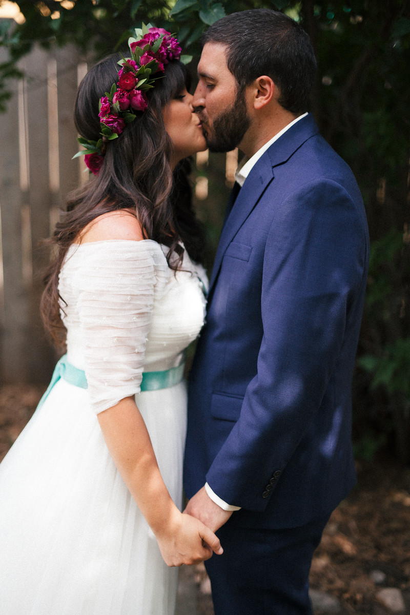 Jewel tone wedding, magenta flower crown, first look