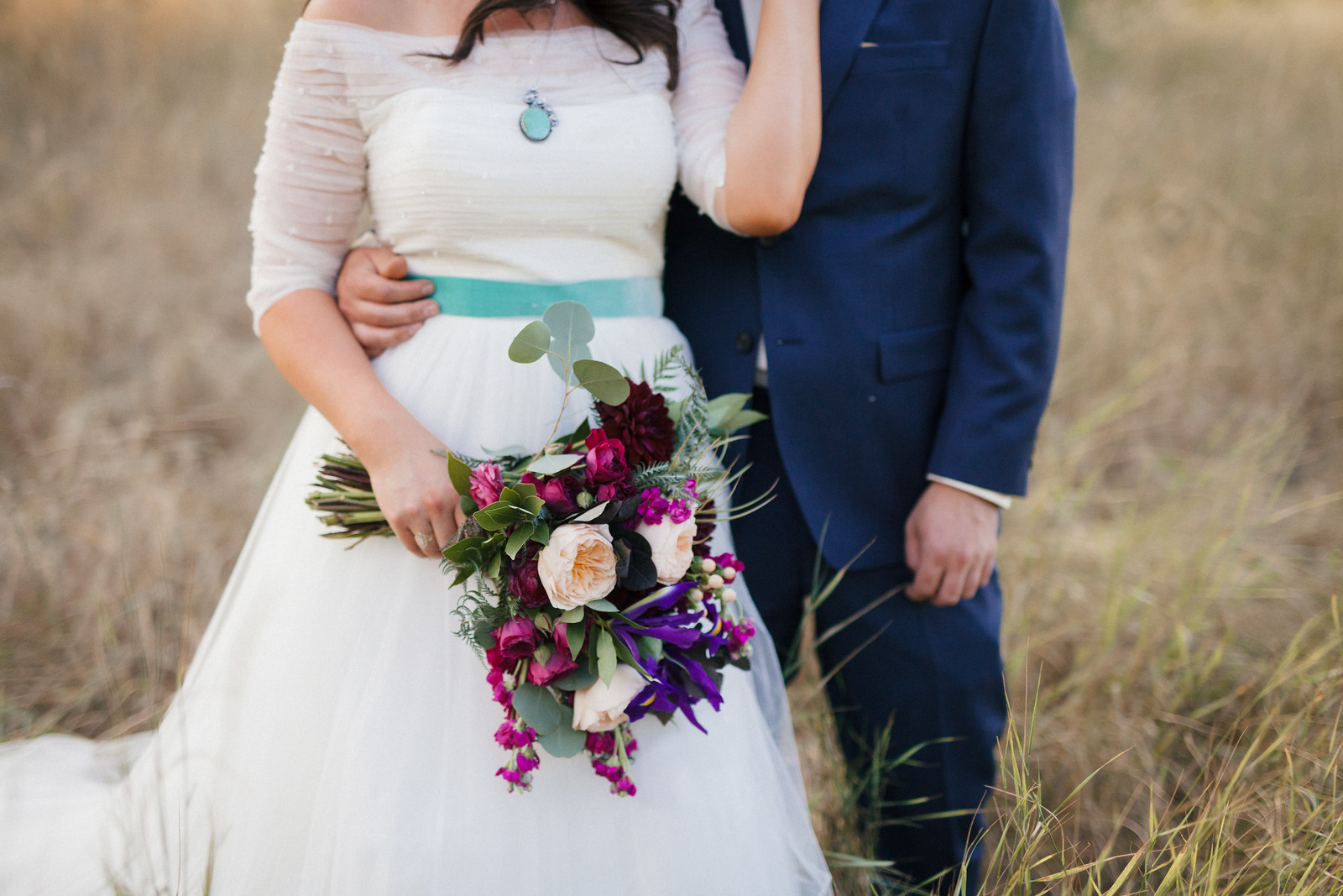 Jewel tone wedding bouquet, velvet,