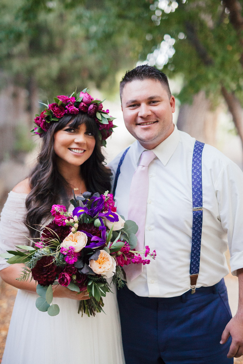Jewel Tone Wedding Bouquet, Magenta Flower crown