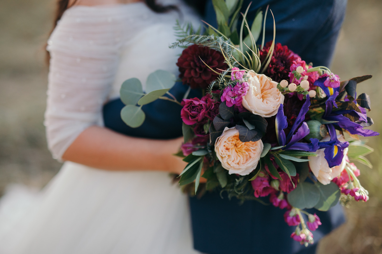 Jewel tone wedding bouquet, garden rose, dahlia