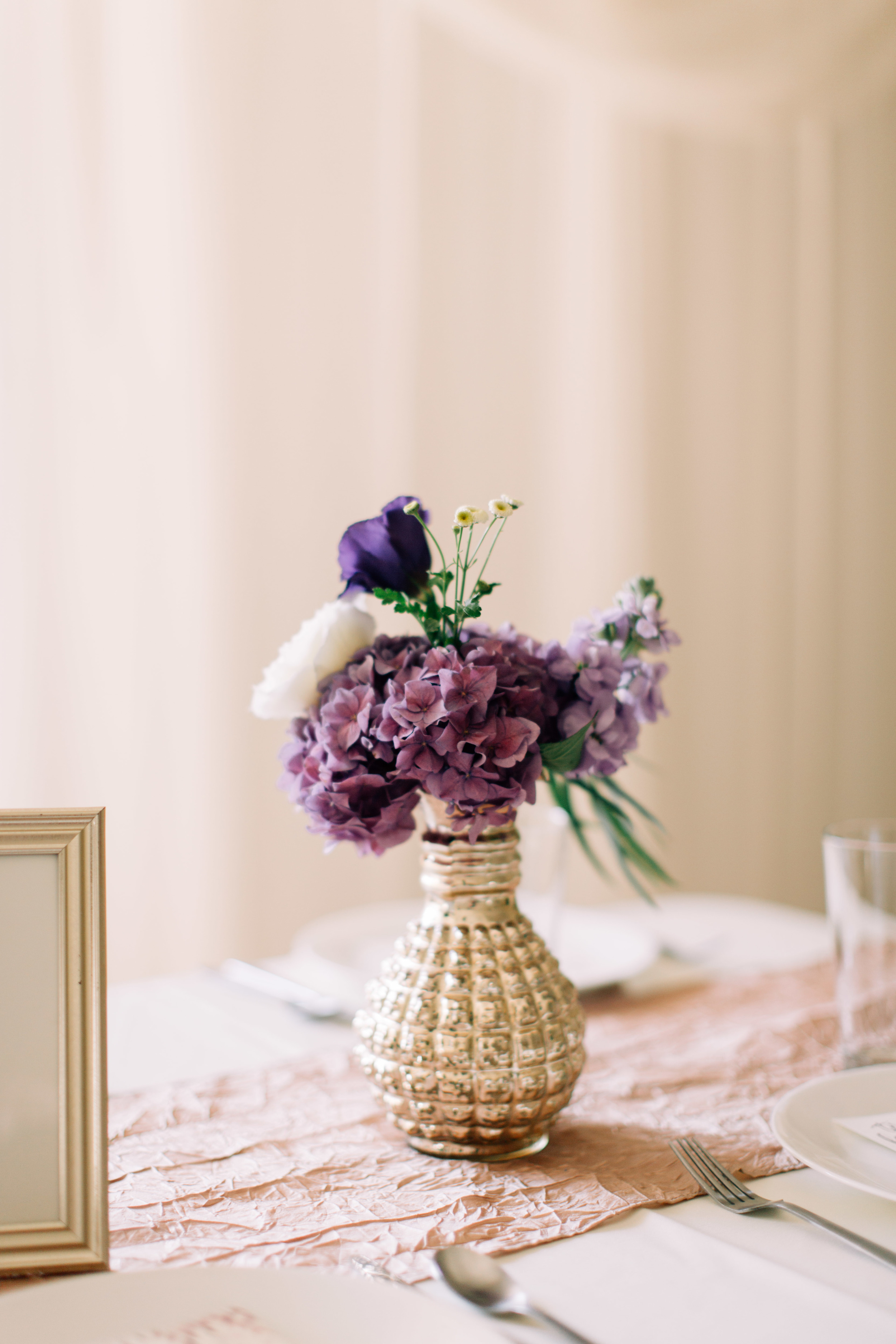 Flowers by Lace and Lilies, Purple Fall Wedding, Gold Mercury Glass Centerpieces