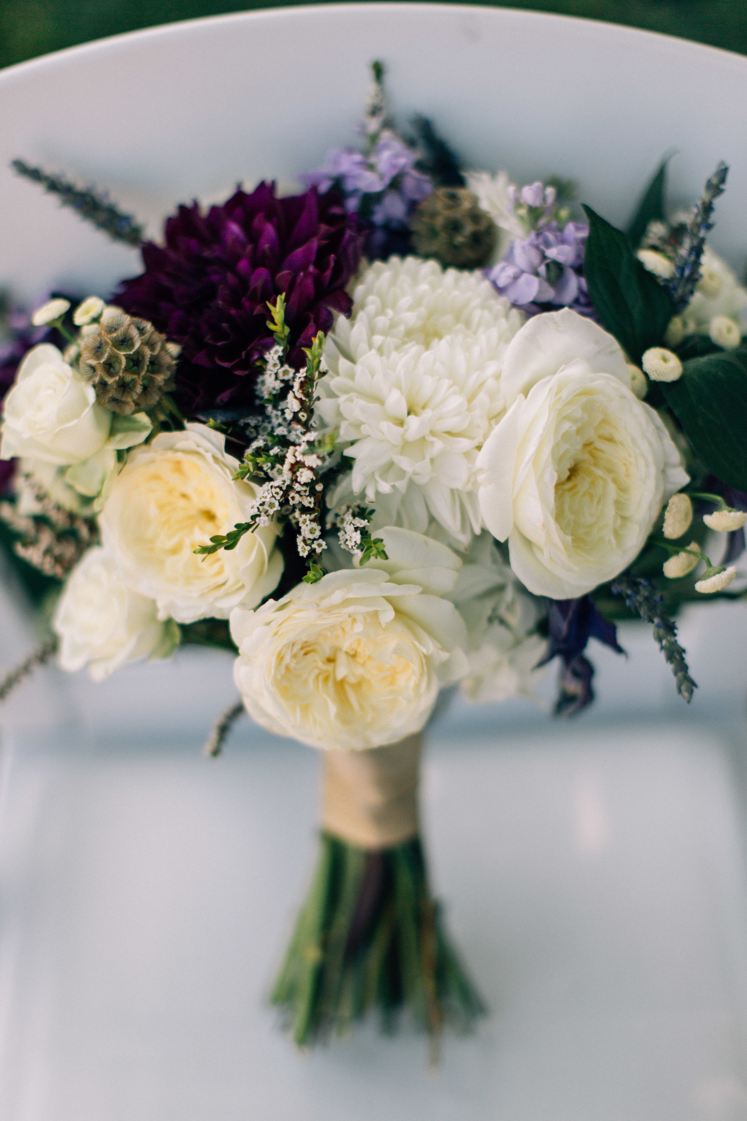 Flowers by Lace and Lilies, Purple Fall Wedding, Bridal Bouquet - Garden Rose, Dahlia, Lavender