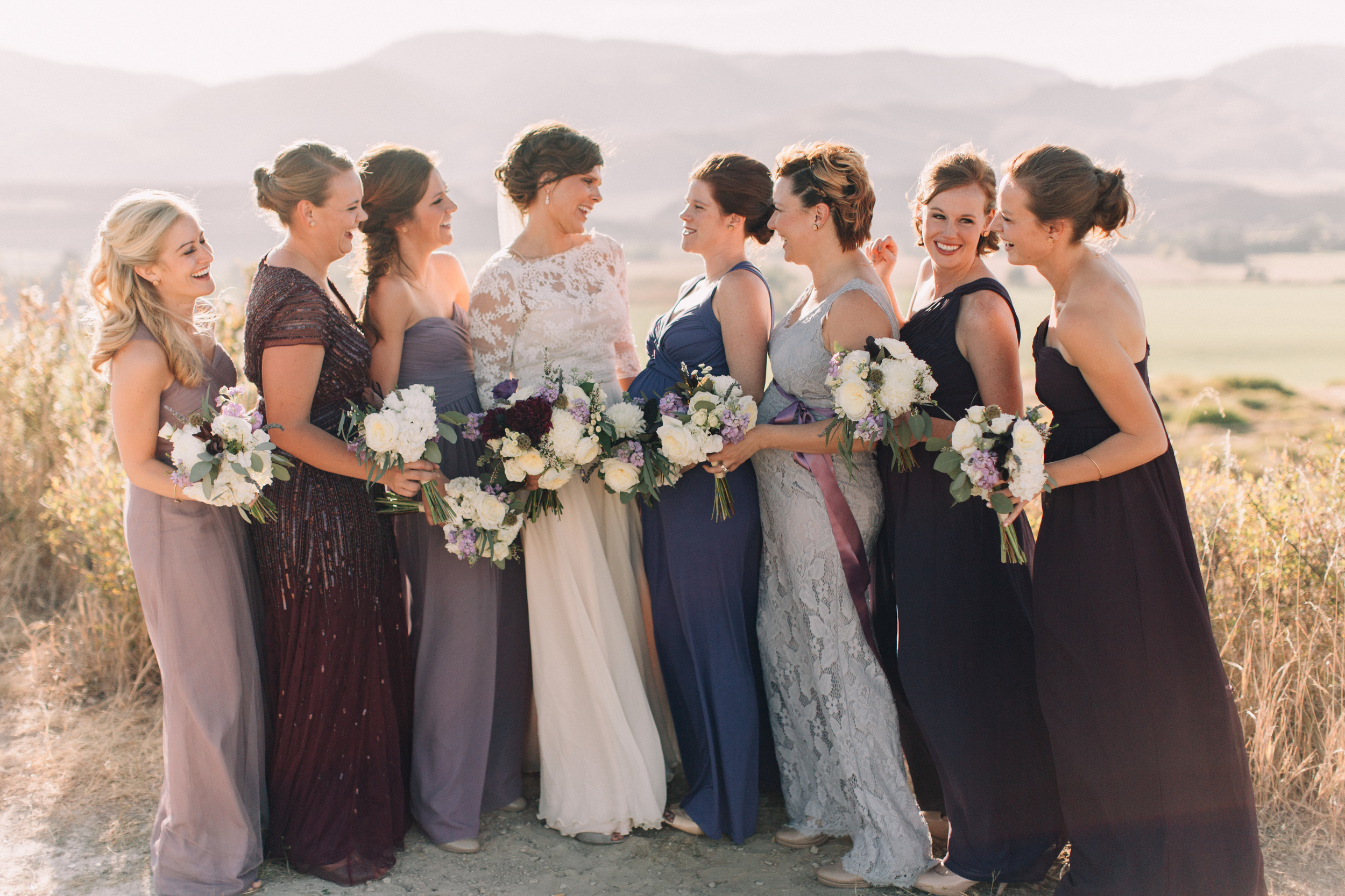 Flowers by Lace and Lilies, Purple Fall Wedding, Bridal and Bridesmaid Bouquets