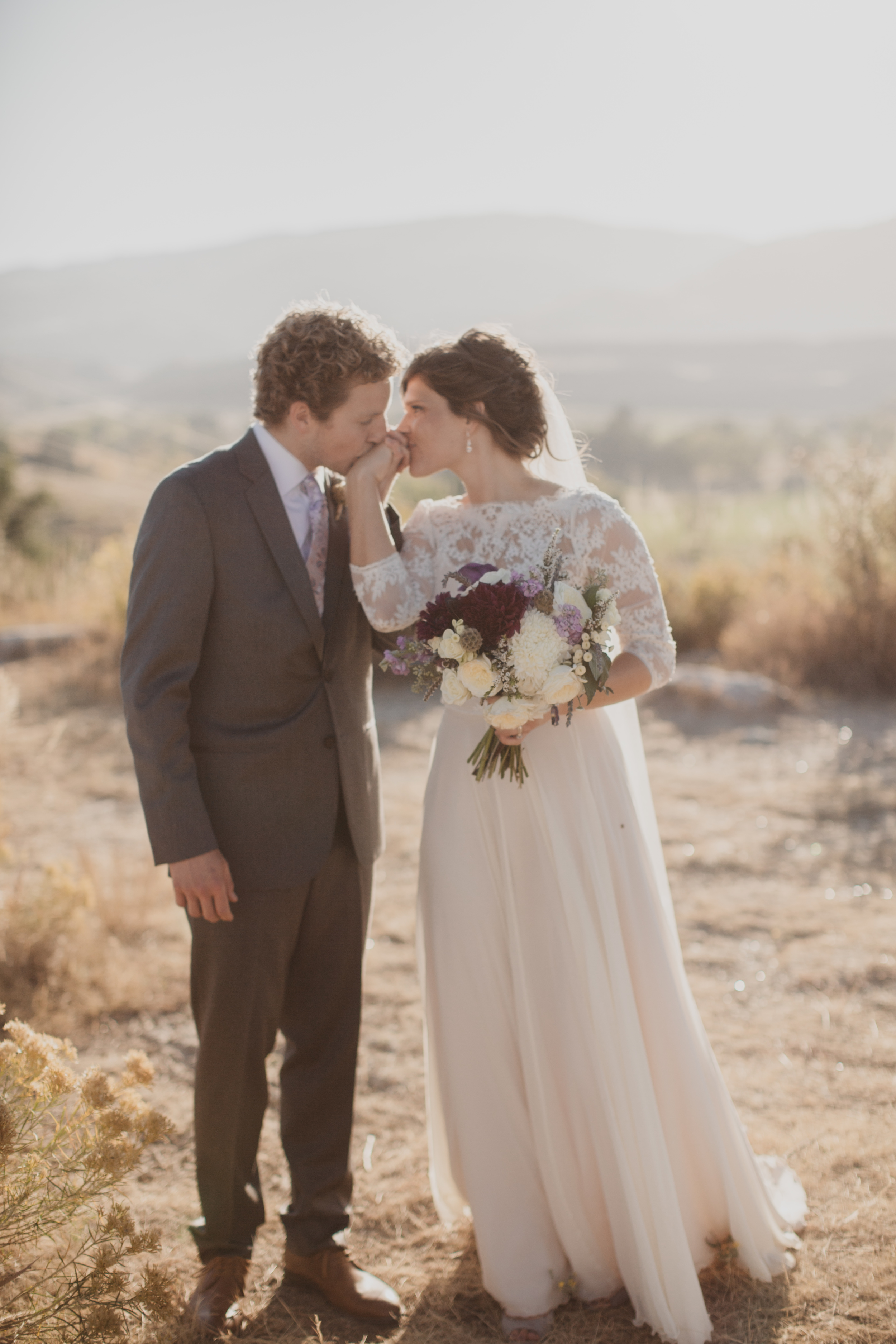 Flowers by Lace and Lilies, Purple Fall Wedding, Bouquet and Hair Flowers