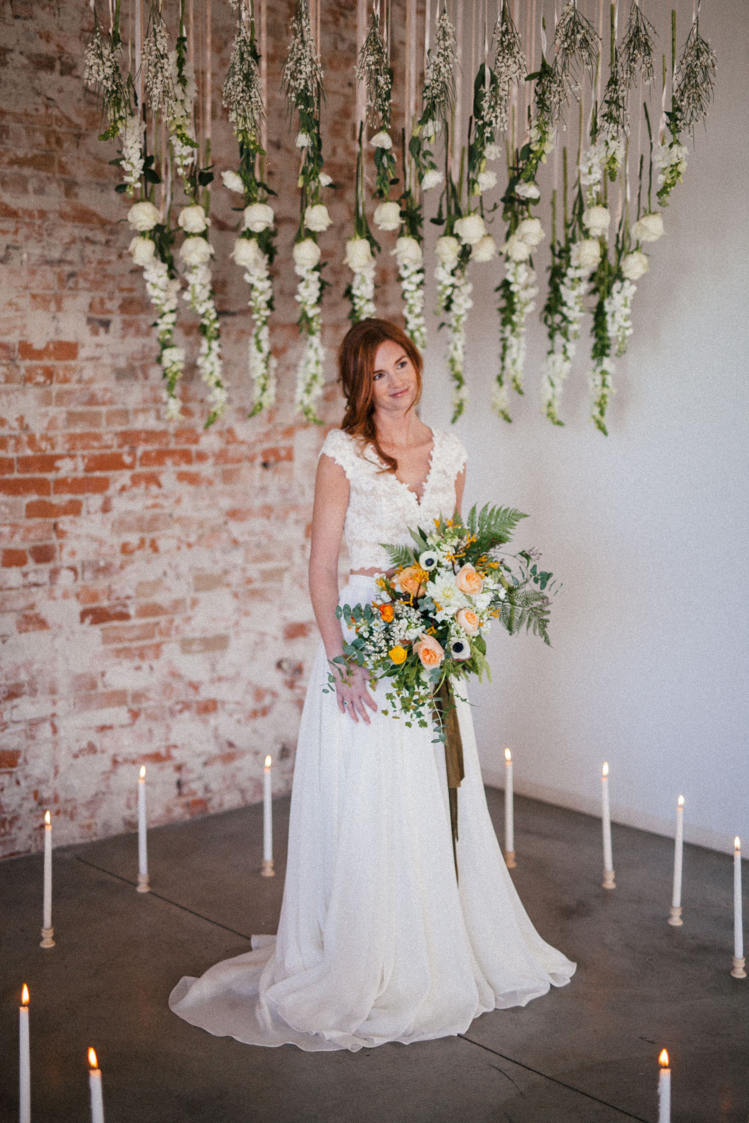 Flowers by Lace and Lilies, Bridal Bouquet, Spring wedding, Yellow, Green, Peach Bouquet, Flower Installation, Ceremony Backdrop