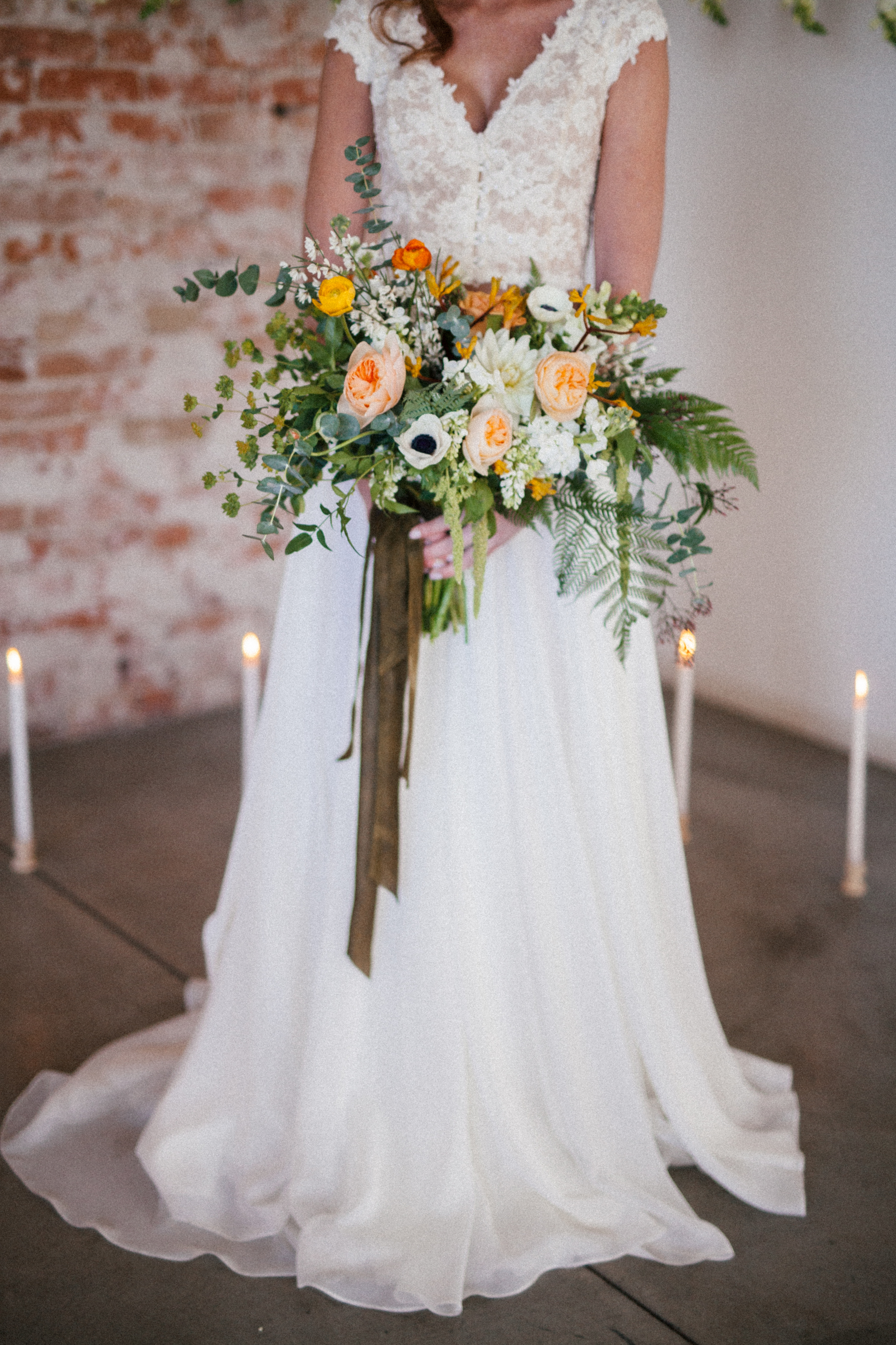 Flowers by Lace and Lilies, Spring Wedding, Bridal Bouquet, Ivory Peach Green Yellow Bouquet, Colorado Wedding