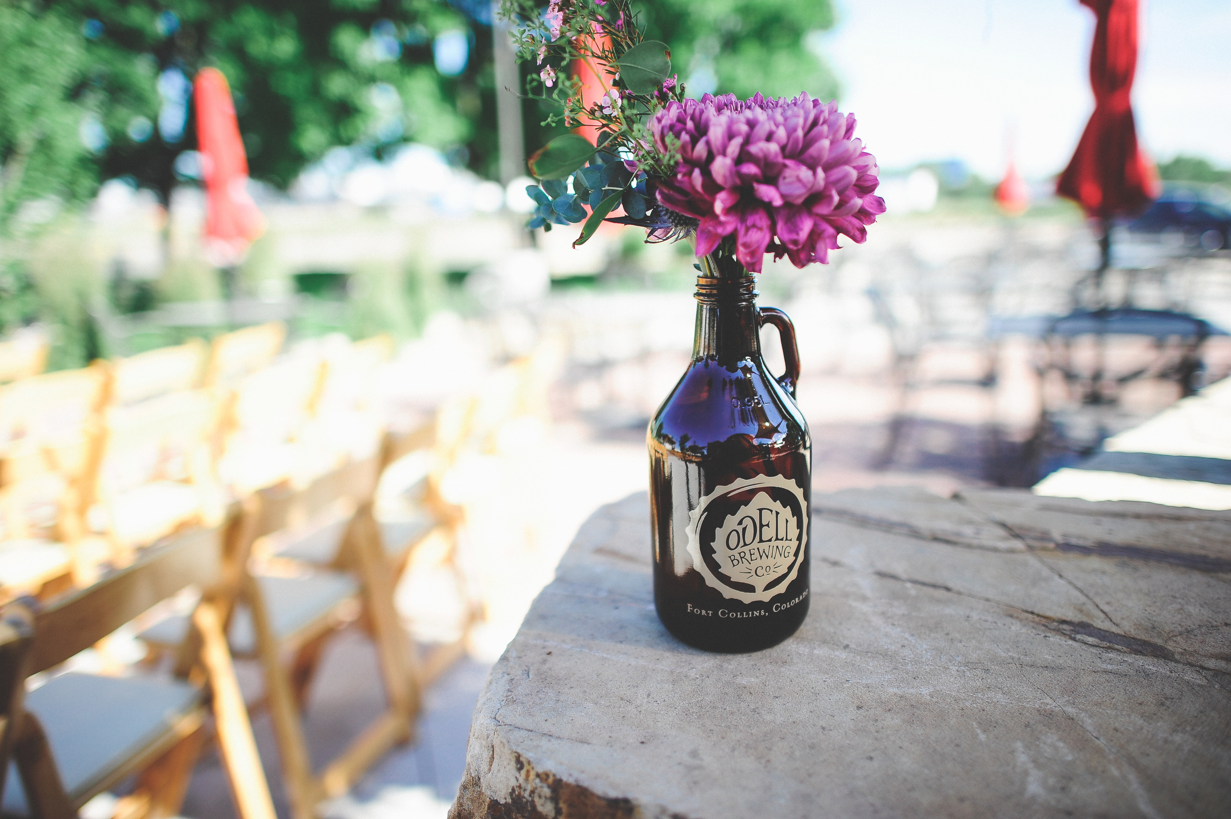 Flowers by Lace and Lilies, Brewery Wedding, Growler Arrangement