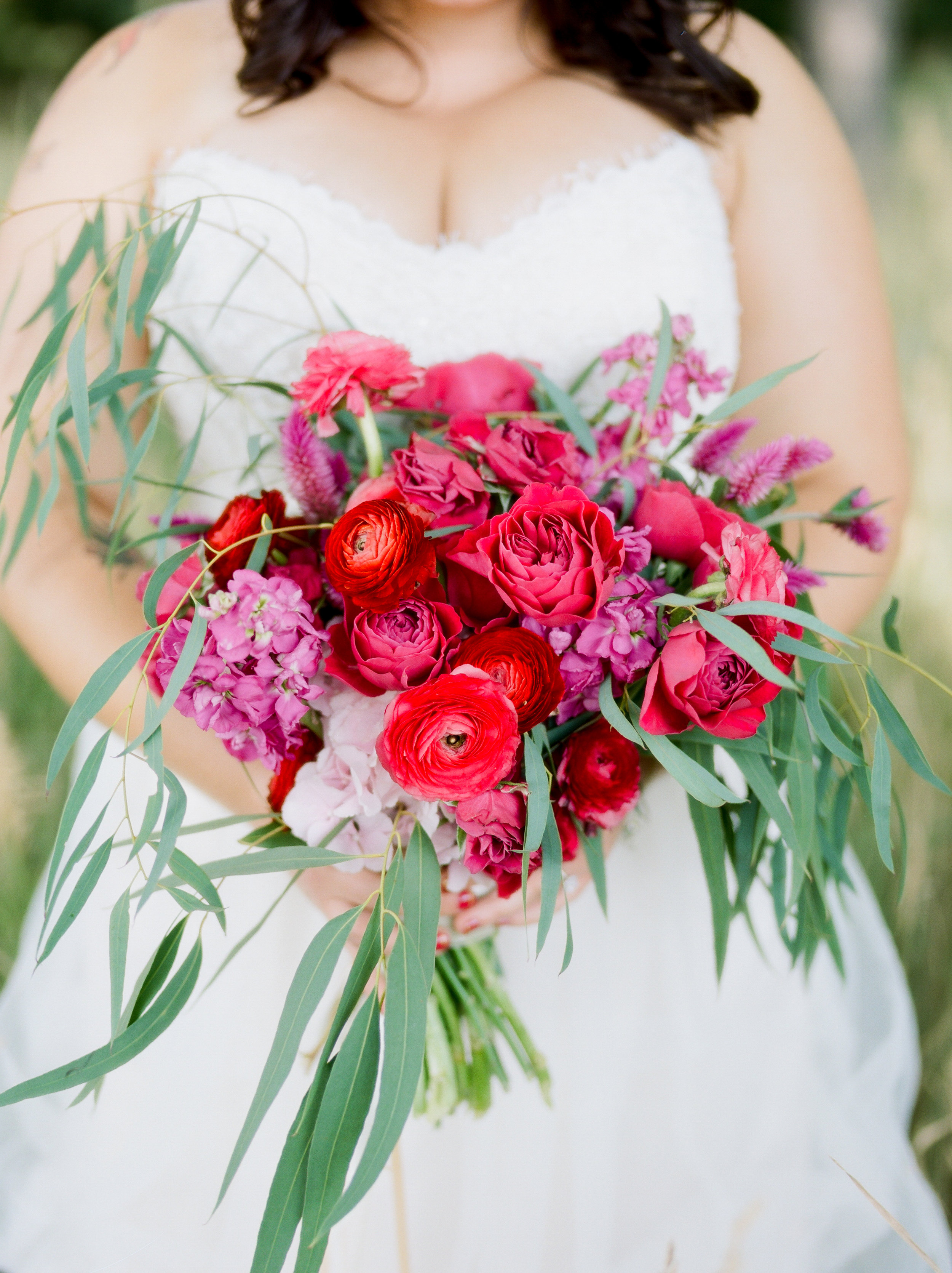 Flowers by Lace and Lilies, Vibrant Pink Bridal Bouquet, Ranunculus, Garden Rose, Eucalyptus