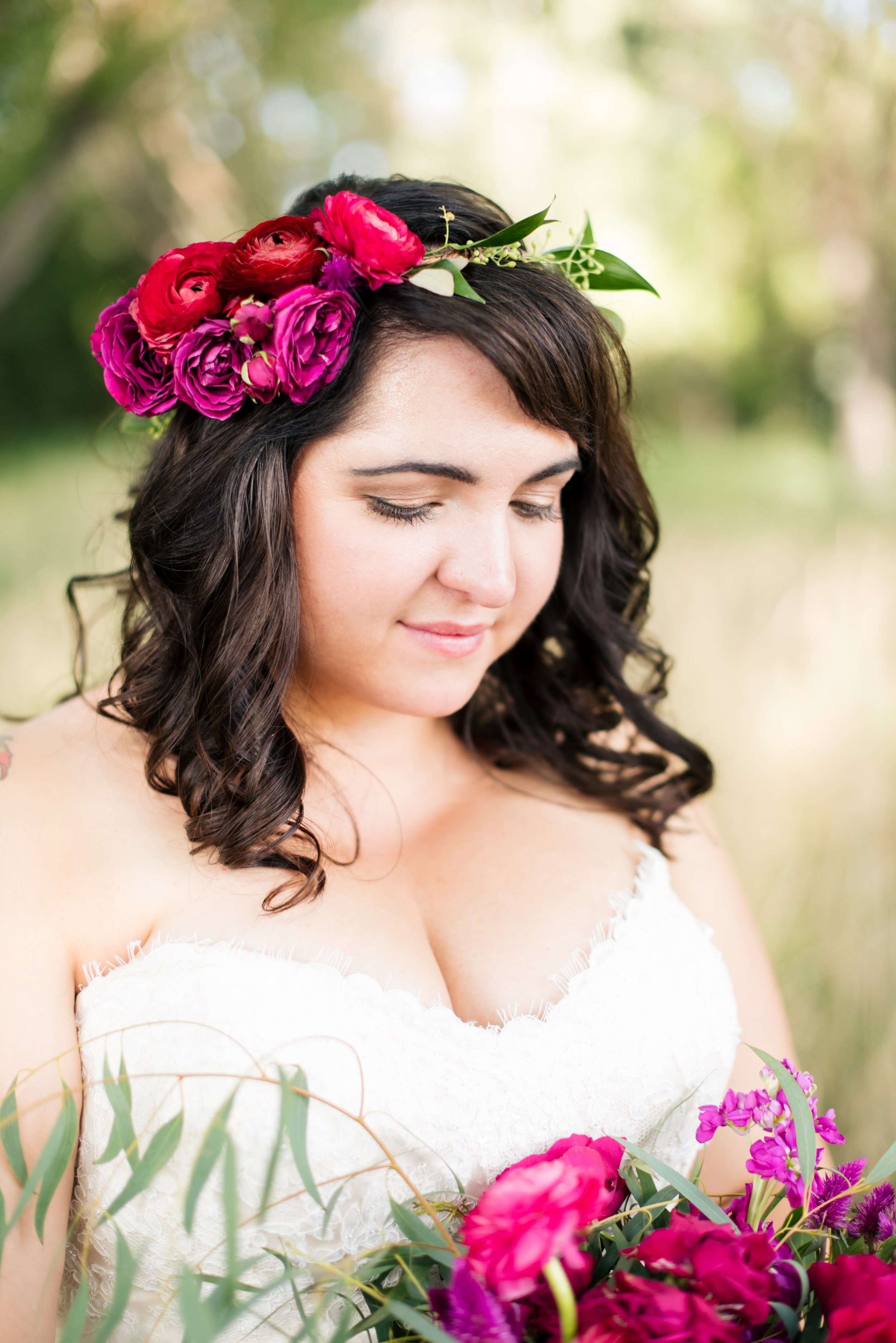 Flowers by Lace and Lilies, Flower Crown, Flower Halo, Bridal Bouquet, Vibrant Pink Wedding