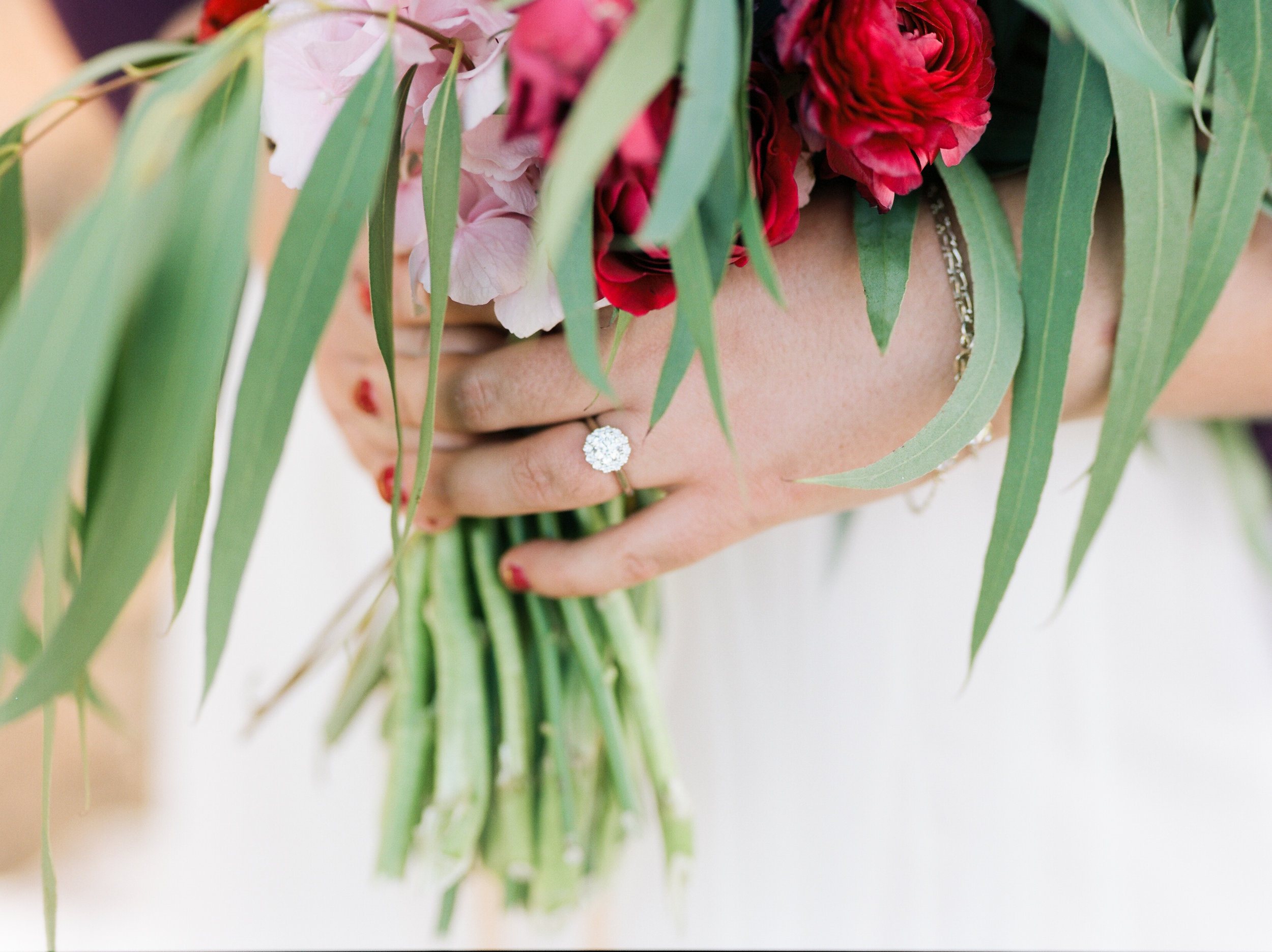 Flowers by Lace and Lilies, Wedding Ring, Eucalyptus, Vibrant Pink Summer Wedding