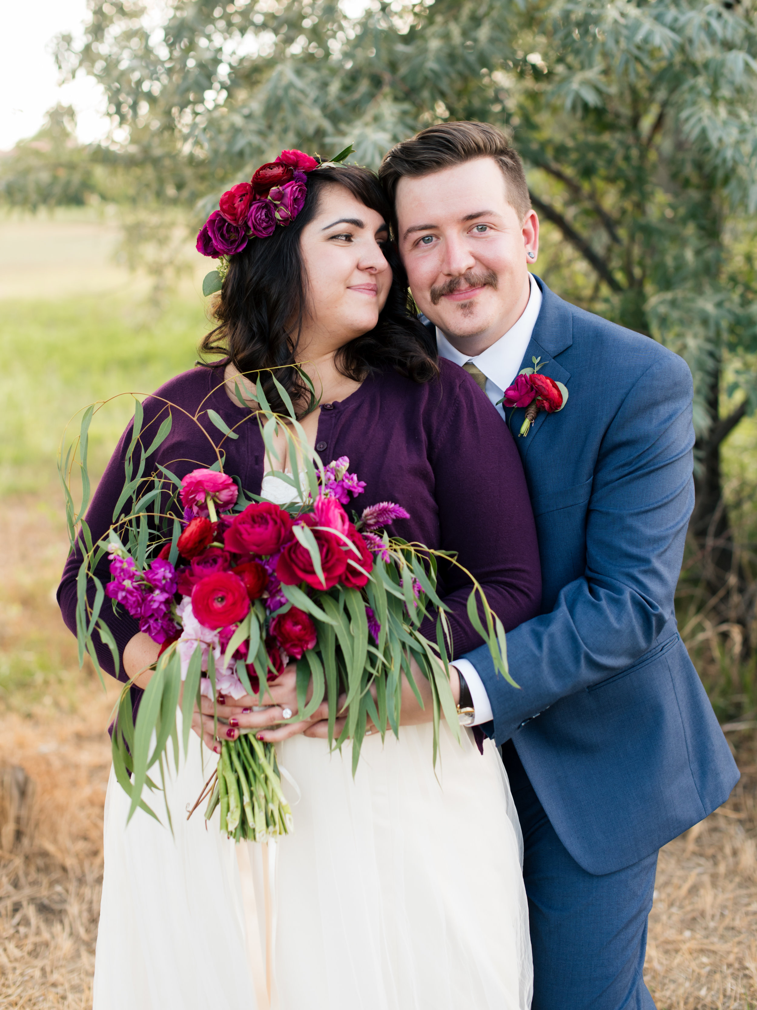 Flowers by Lace and Lilies, Flower Crown, Halo, Vibrant Pink Bridal Bouquet, Boutonniere, Bride and Groom