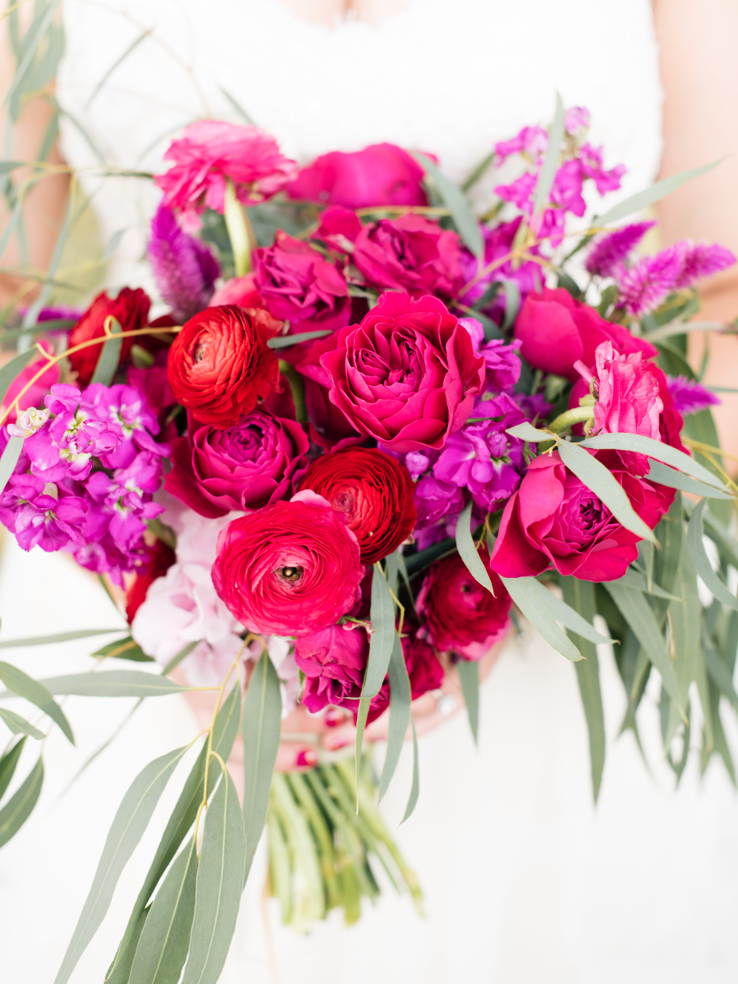 Flowers by Lace and Lilies, Ranunculus, Garden Rose, Eucalyptus, Vibrant Summer Bridal Bouquet