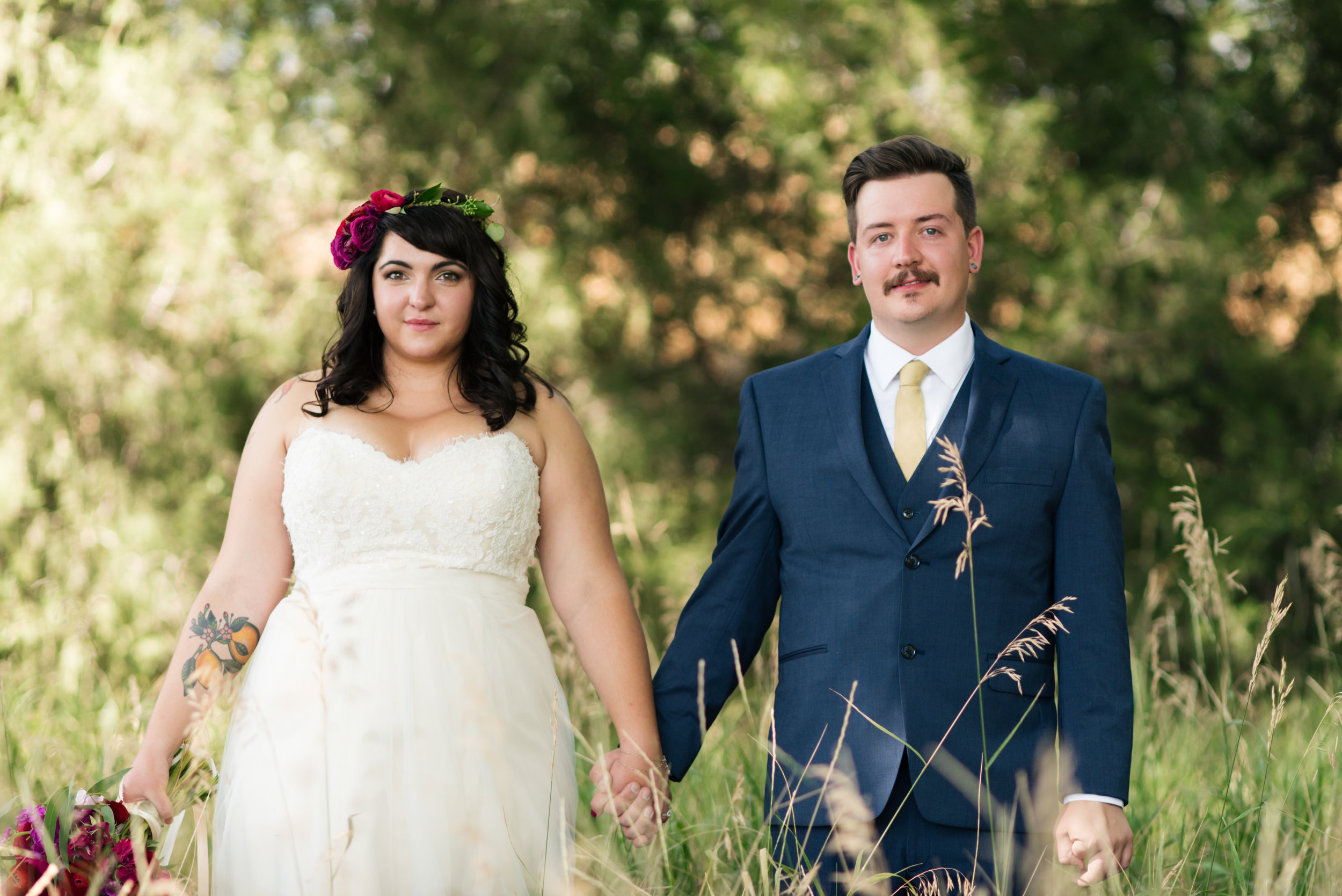 Flowers by Lace and Lilies, Bride and Groom, Flower Crown, Boutonniere, Summer Wedding
