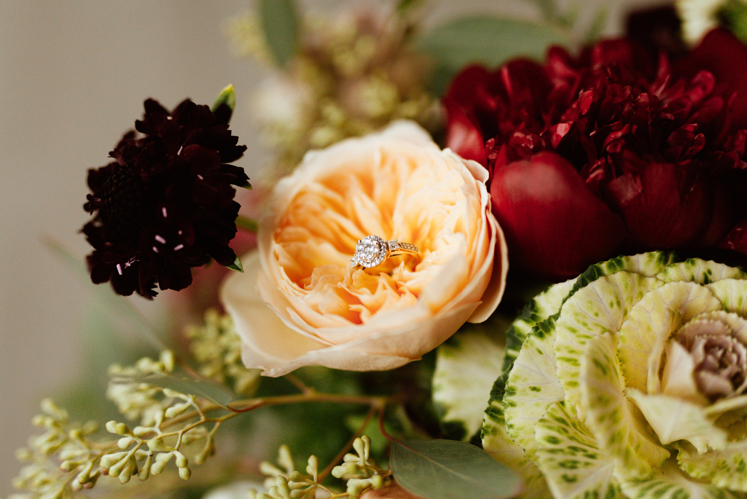 Flowers by Lace and Lilies, Burgundy/Peach wedding flowers, fall/winter wedding bouquet - peonies, garden roses, kale