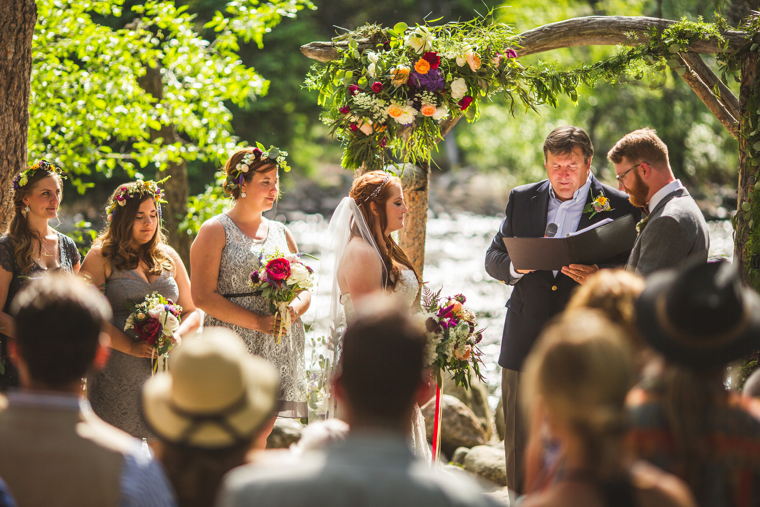 Flowers by Lace and Lilies, outdoor wedding arch, wildflower woodlands ceremony flowers