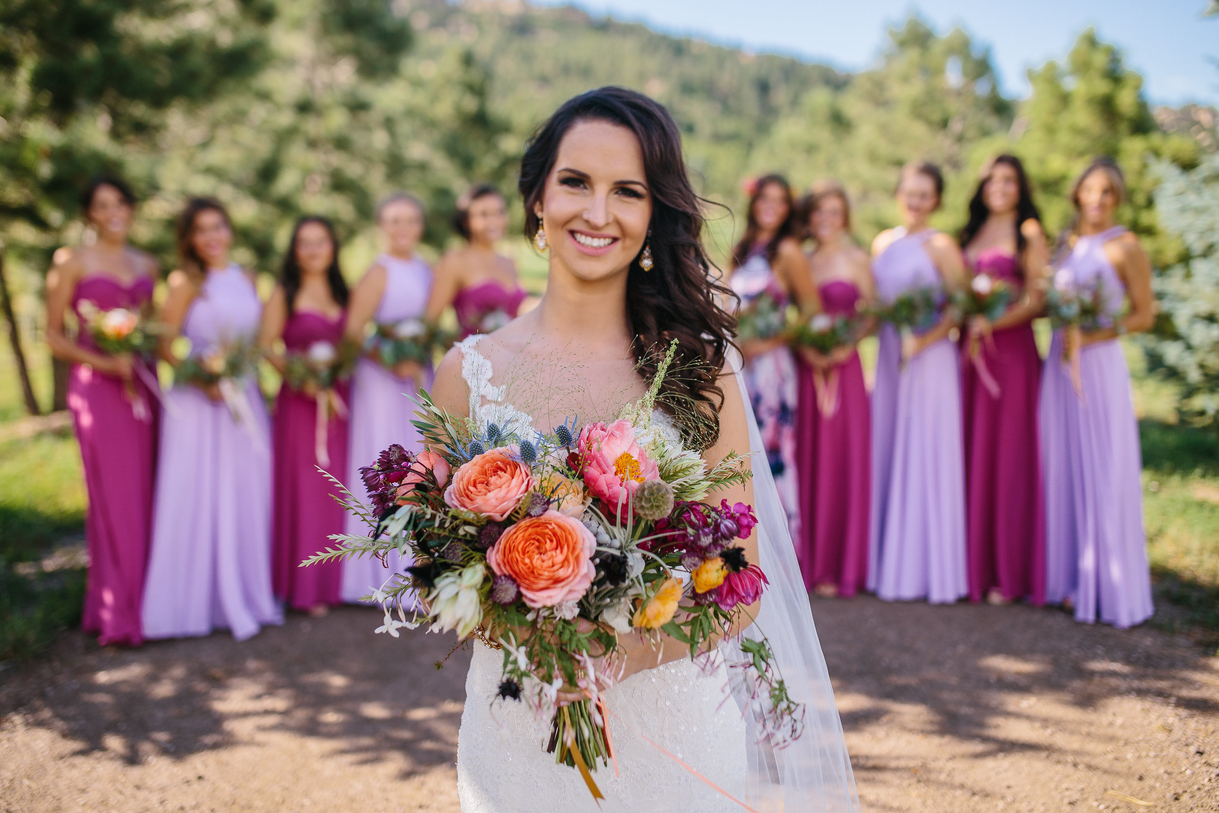 Flowers by Lace and Lilies - Bridal bouquet, hair flowers, flower crown, floral halo, bride, maid of honor, pink, blush, purple, blue, thistle, colorful, vibrant, summer wedding, colorado, peony, blushing bride, garden rose, air plant, bridesmaids, protea, spruce mountain ranch