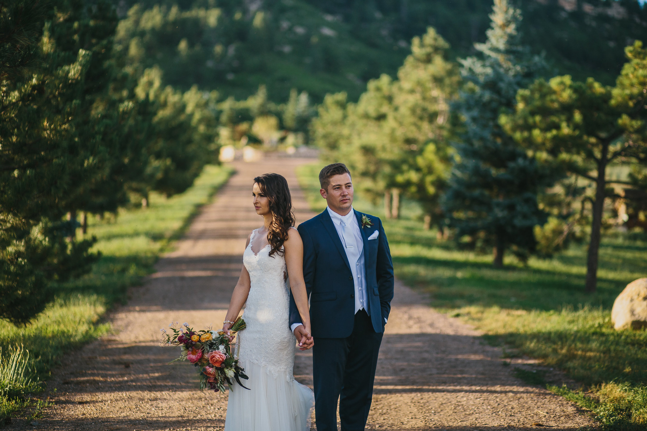 Flowers by Lace and Lilies - colorado, spruce mountain ranch, wedding, summer, bride and groom, boutonniere, bouquet, pink, coral, greenery, hand-tied, lush and full
