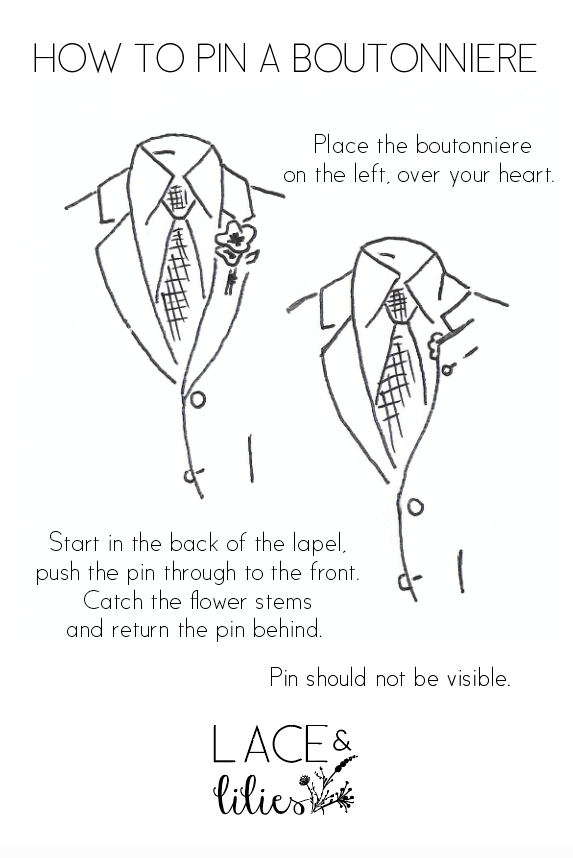 Flowers by Lace and Lilies, how to wear and pin on a boutonniere, hand drawing, artist, wedding flowers, groom