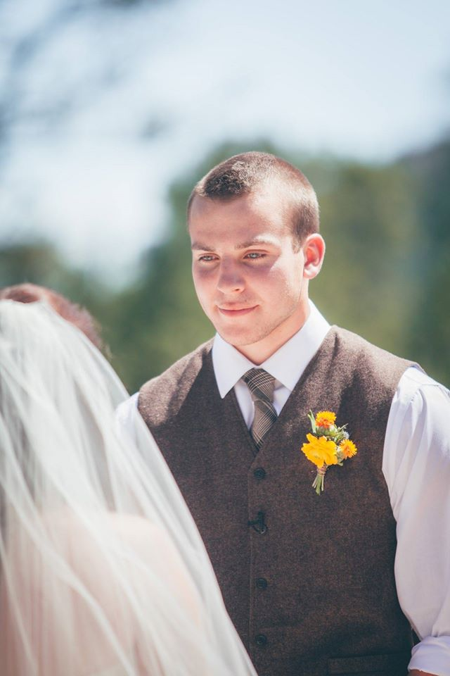 Flowers by Lace and Lilies, Yellow and Orange summer boutonniere, rustic mountain wedding