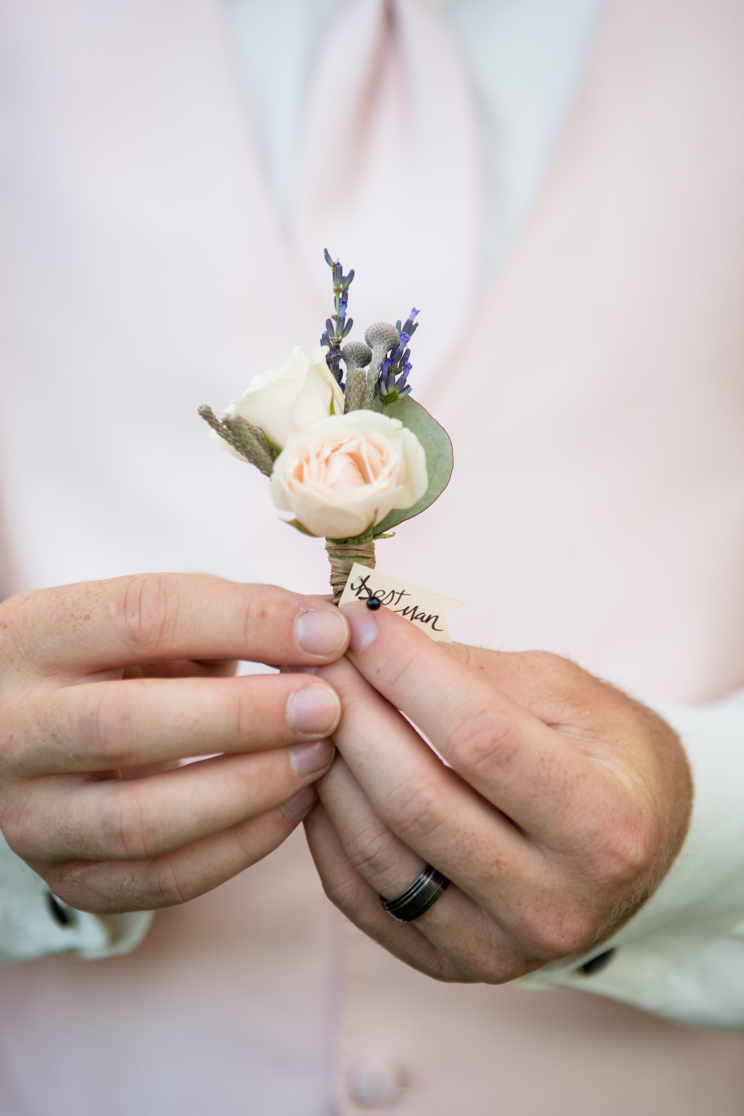 Flowers by Lace and Lilies, blush spray rose and lavender - rustic mountain manly boutonniere - father