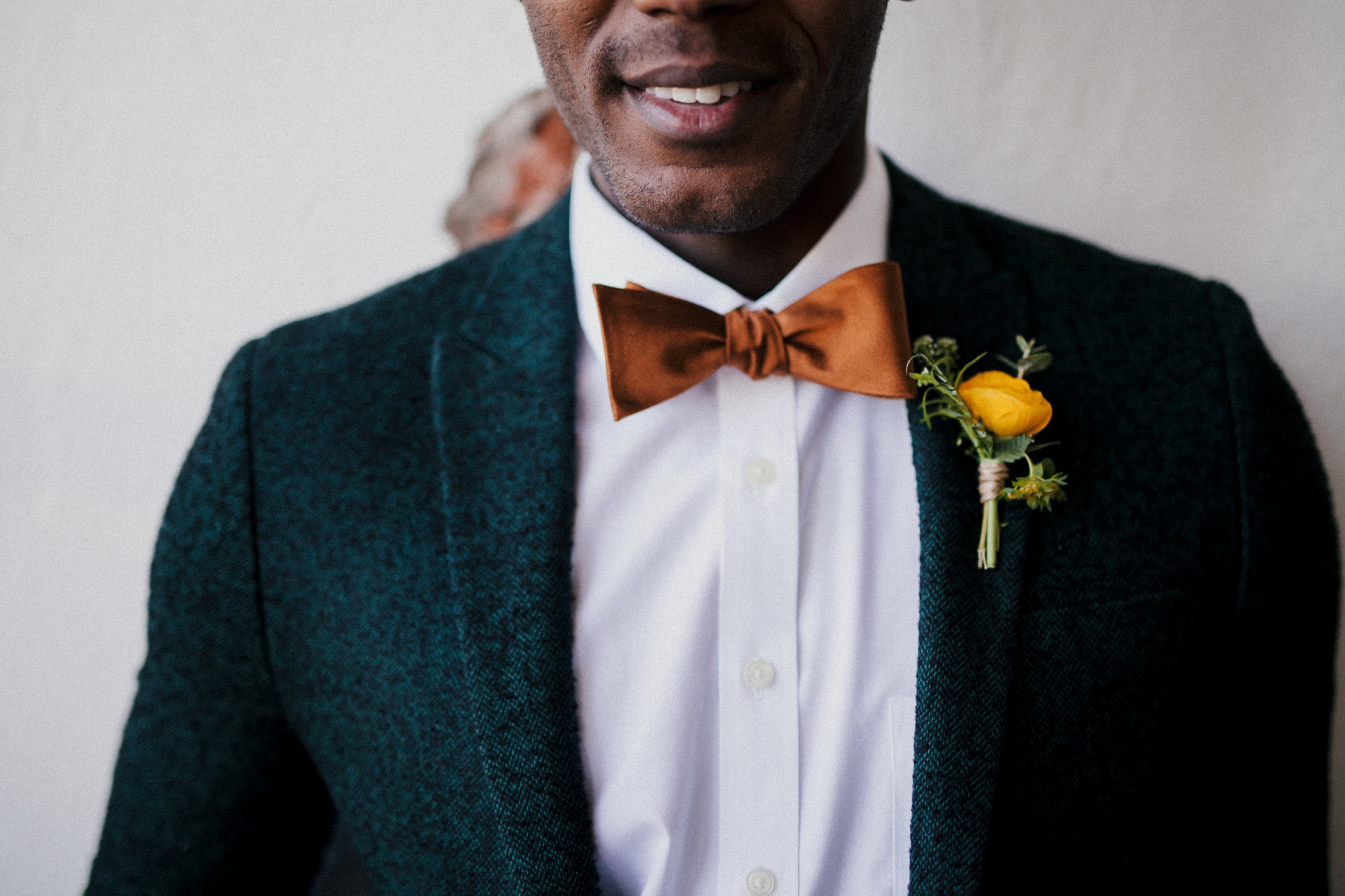 Flowers by Lace and Lilies, Yellow Ranunculus boutonniere, industrial city wedding, mens fashion