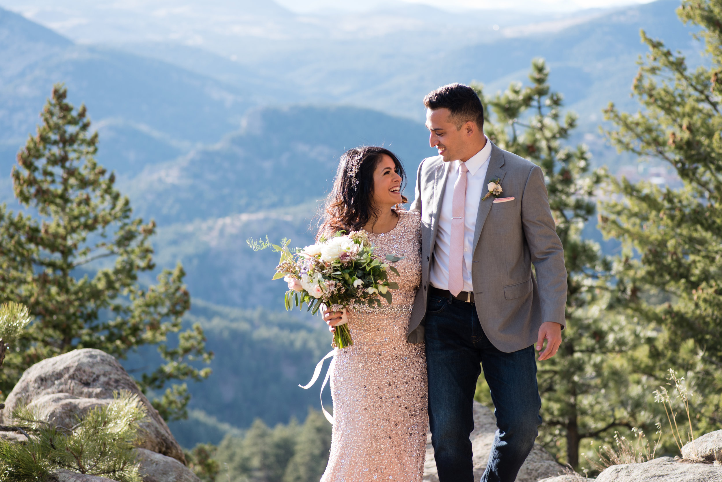 Flowers by Lace and Lilies, mountain elopement, gold glitter dress with white and blush bridal bouquet and matching boutonniere