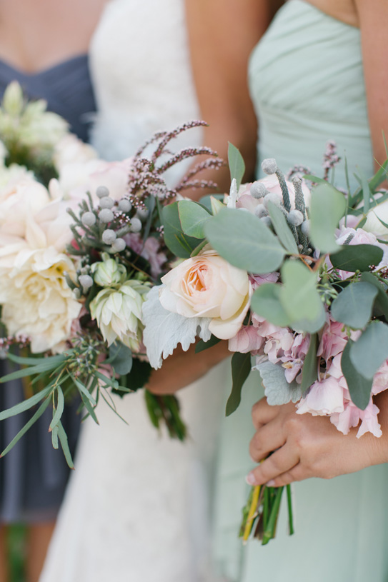 Flowers by Lace and Lilies. Bouquet / Steamboat Springs, CO - White, Ivory, Blush, Gray, Dusty Green, Sage Green. Soft, Romantic, Timeless, Classic, Elegant. Bridesmaid. Calcynia, Blushing Bride, Eucalyptus, Silver Brunia Berry / Berries, Dusty Miller, Garden Rose, Dahlia
