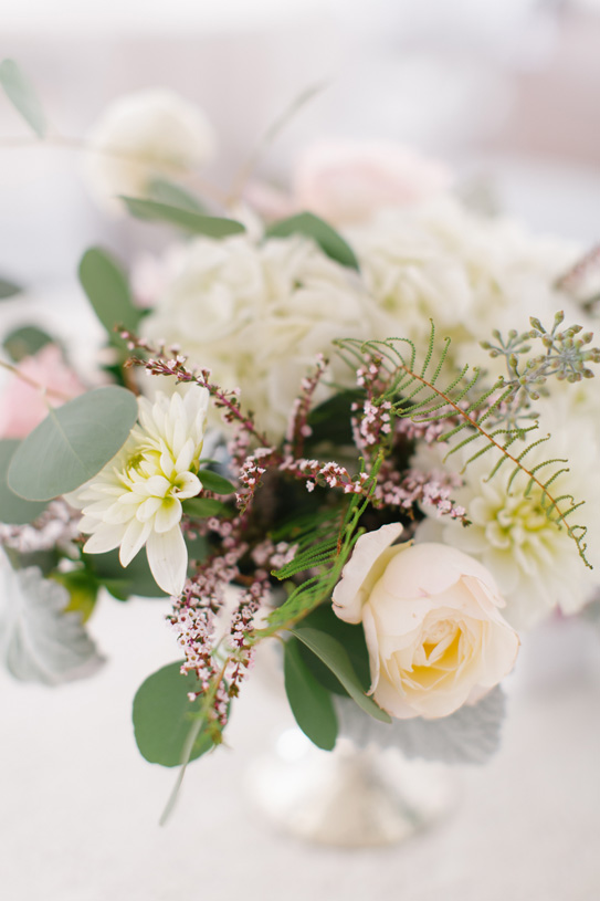 Flowers by Lace and Lilies. Reception / Steamboat Springs, CO - White, Ivory, Blush, Gray, Dusty Green, Sage Green. Soft, Romantic, Timeless, Classic, Elegant. Cocktail Hour, Centerpiece, Marriage, Wedding. Calcynia, Blushing Bride, Eucalyptus, Silver Brunia Berry / Berries, Dusty Miller, Garden Rose, Dahlia