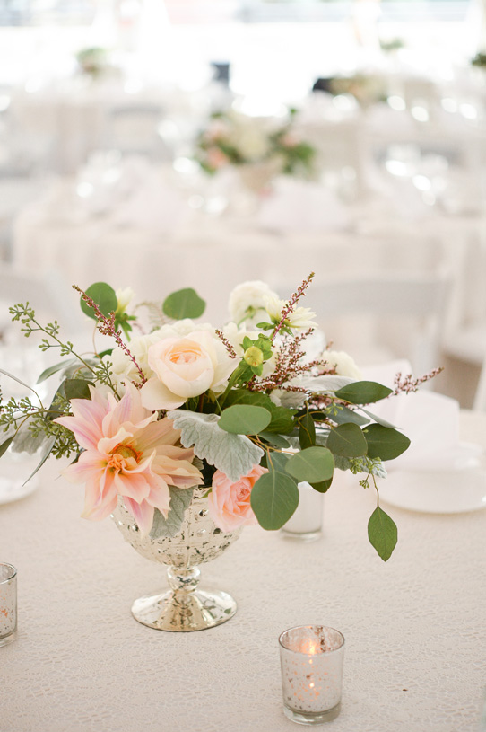 Flowers by Lace and Lilies. Reception / Steamboat Springs, CO - White, Ivory, Blush, Gray, Dusty Green, Sage Green. Soft, Romantic, Timeless, Classic, Elegant. Cocktail Hour, Centerpiece, Marriage, Wedding. Calcynia, Blushing Bride, Eucalyptus, Silver Brunia Berry / Berries, Dusty Miller, Garden Rose, Dahlia, Cafe au Lair Dahlia