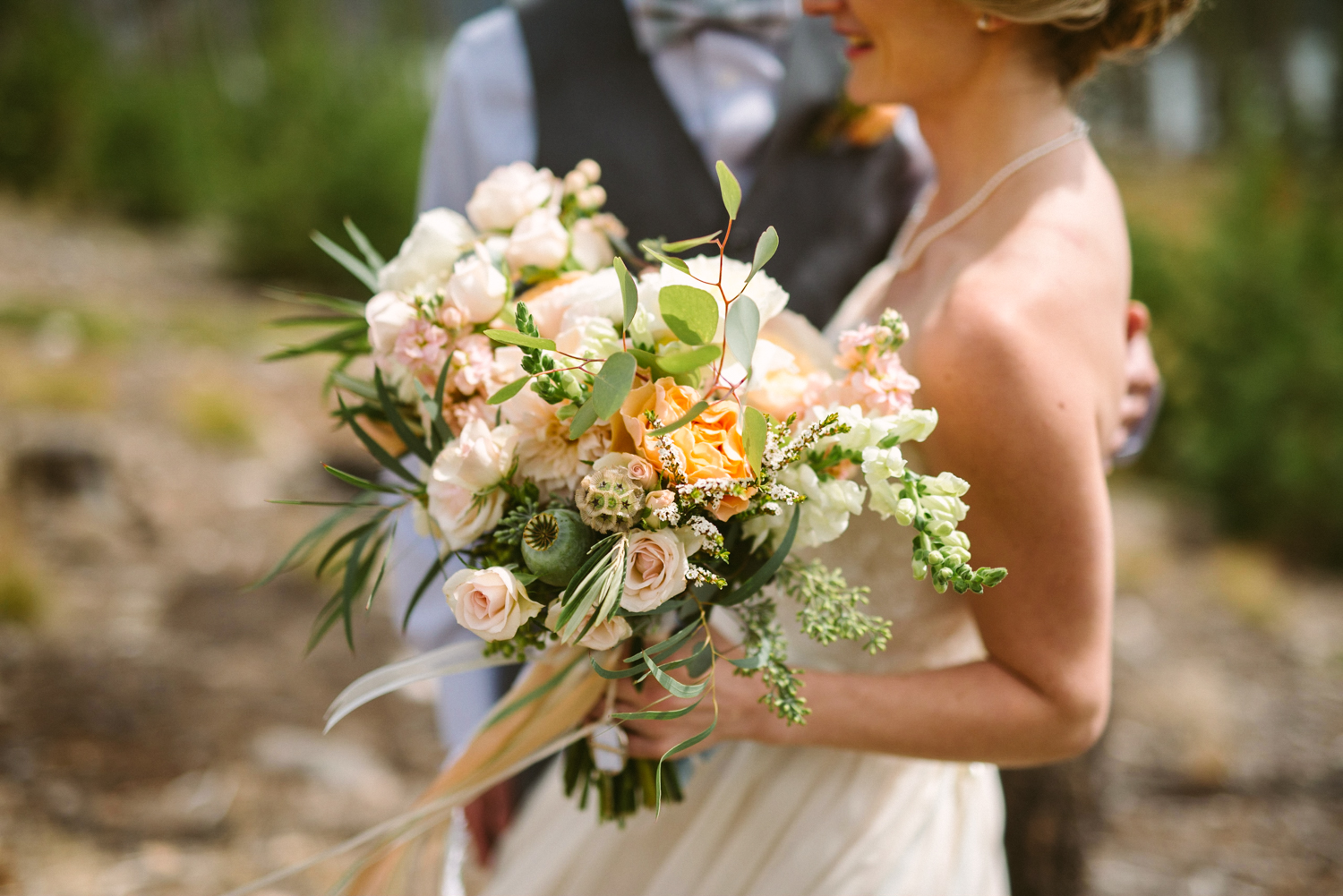 Flowers by Lace and Lilies / Colorado wedding florist - peach, sage, green, white, ivory, blush - natural, organic, romantic, whimsical - Fort Collins, Grand Lake, Destination, Travel - bride and groom, bridal bouquet, ranunculus, garden rose, poppy pod, eucalyptus
