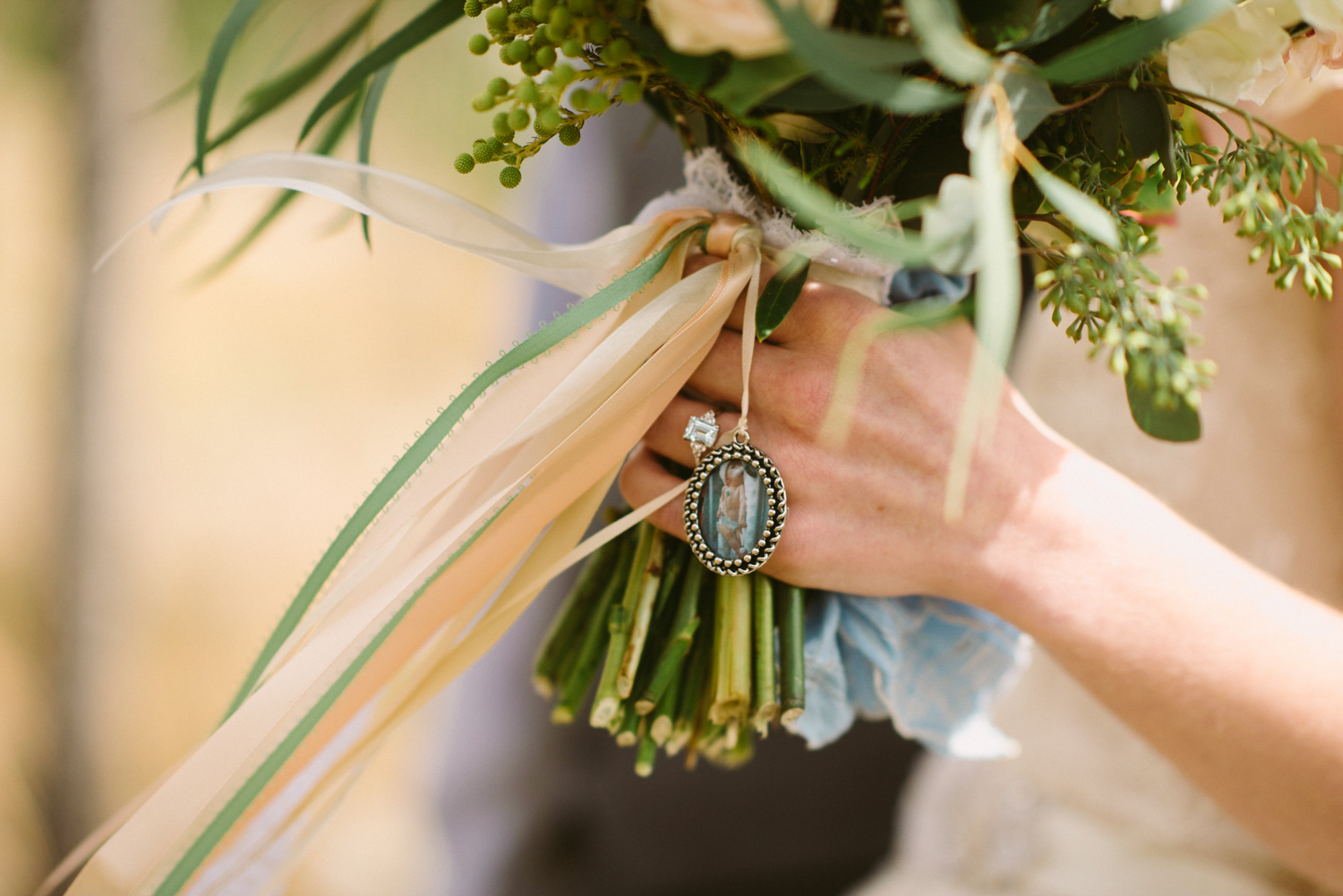 Flowers by Lace and Lilies / Colorado wedding florist - peach, sage, green, white, ivory, blush - natural, organic, romantic, whimsical - Fort Collins, Grand Lake, Destination, Travel - bridal bouquet, wrap, sentimental item, family photo, hanging ribbon, eucalyptus